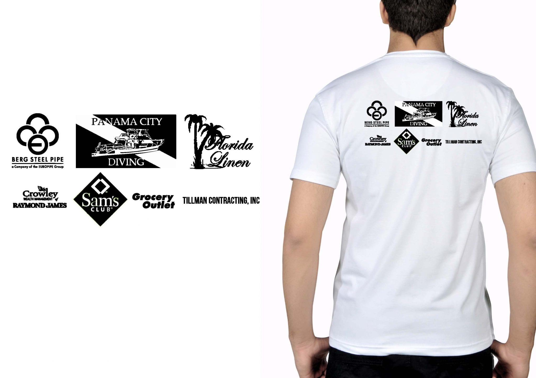 SPONSORS BACK DESIGN FOR TSHIRT ONE COLOR BLACK