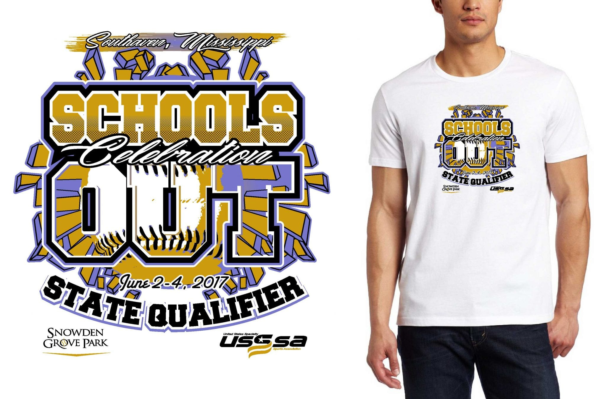 BASEBALL TSHIRT LOGO DESIGN southaven-shootout-schools-out-celebration UrArtStudio
