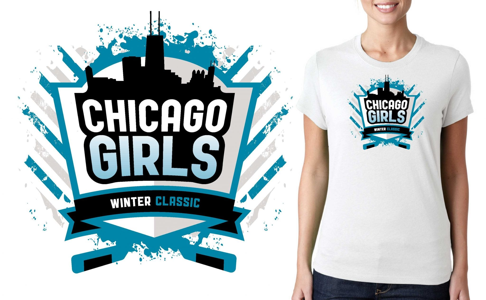 PRINT 1 14 15 17 Canlan Chicago Girls Winter Classic vector logo design for t-shirt ice hockey urartstudio.com
