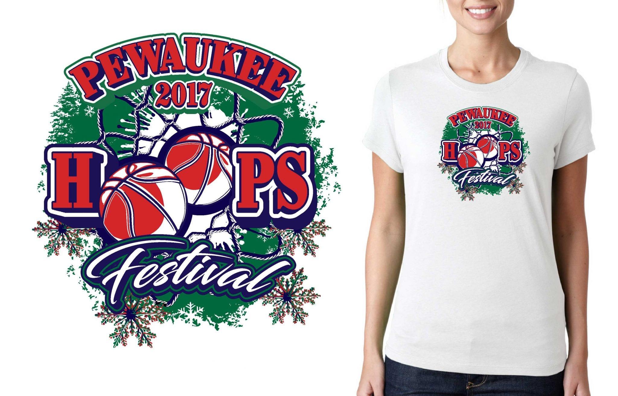 2017 Pewaukee Hoops Festival vector logo design for basketball t-shirt UrArtStudio