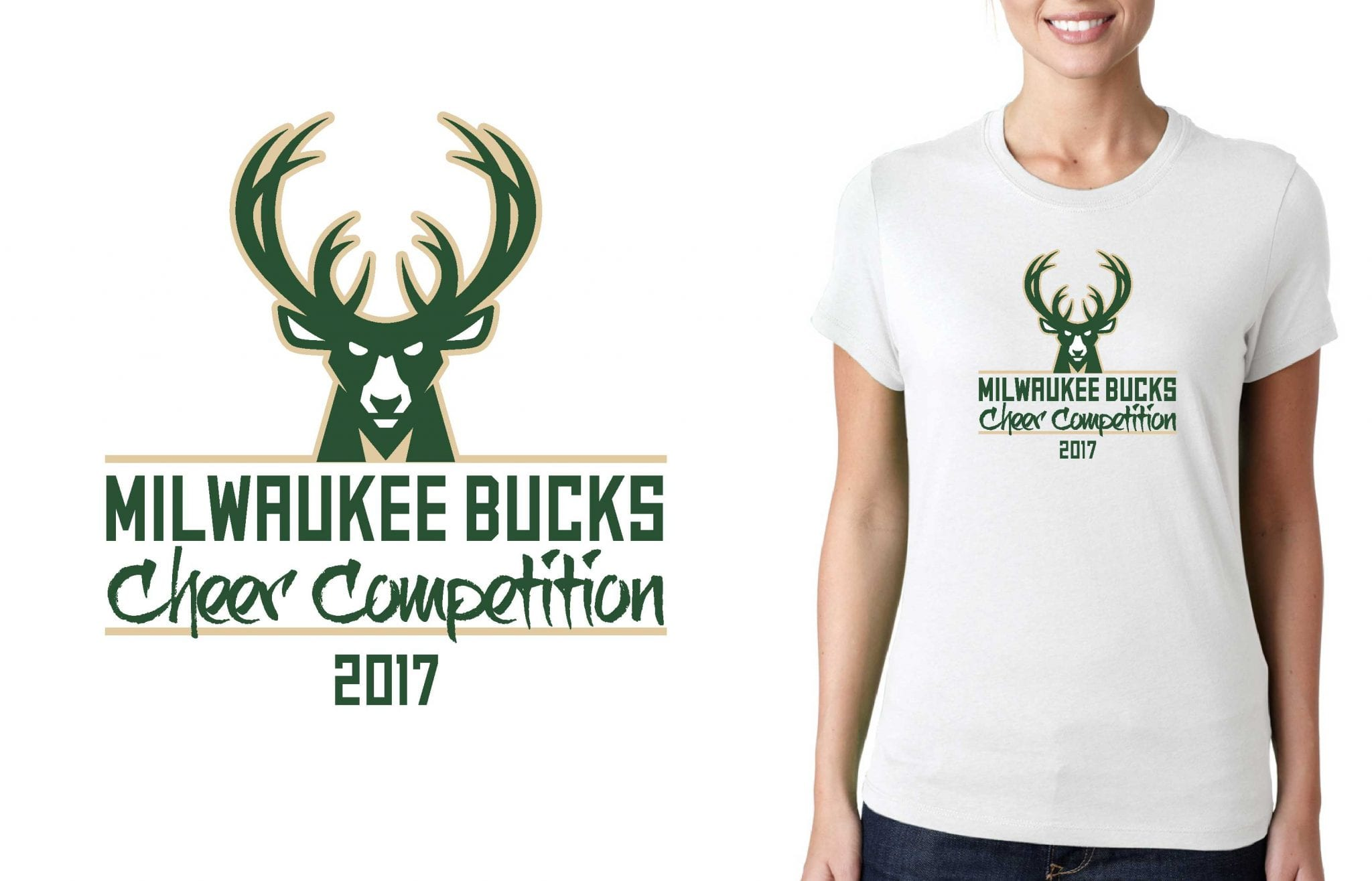 2017 Milwaukee Bucks Cheer Competition vector logo design for cheer t-shirt UrArtStudio