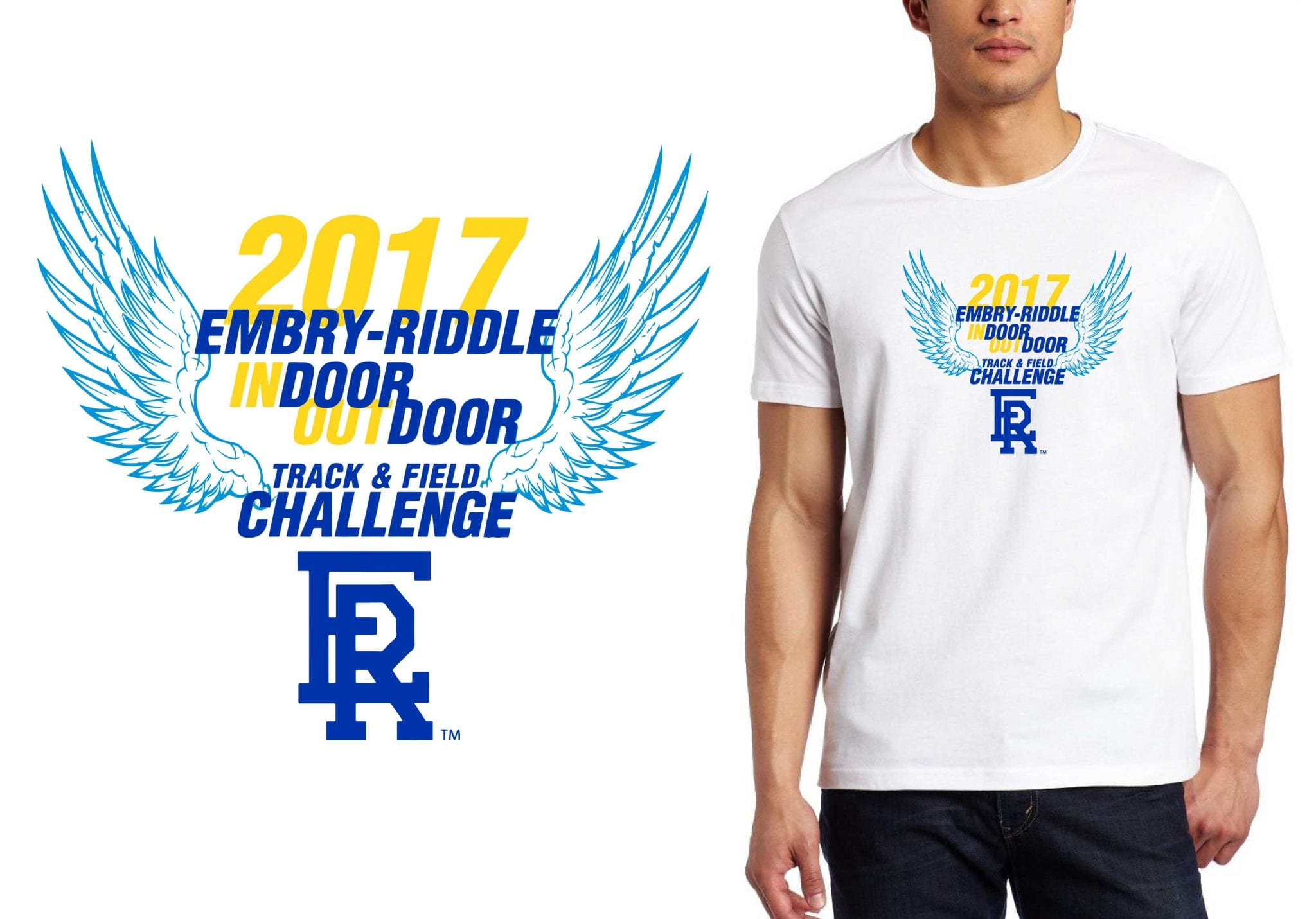 FRONT 2017 Indoor Outdoor Challenge vector logo design for track t-shirt UrArtStudio