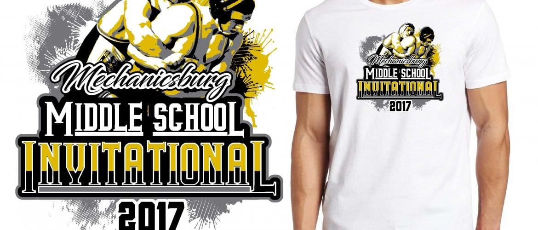 2017 Mechanicsburg Middle School Invitational vector logo design for wrestling t-shirt UrArtStudio