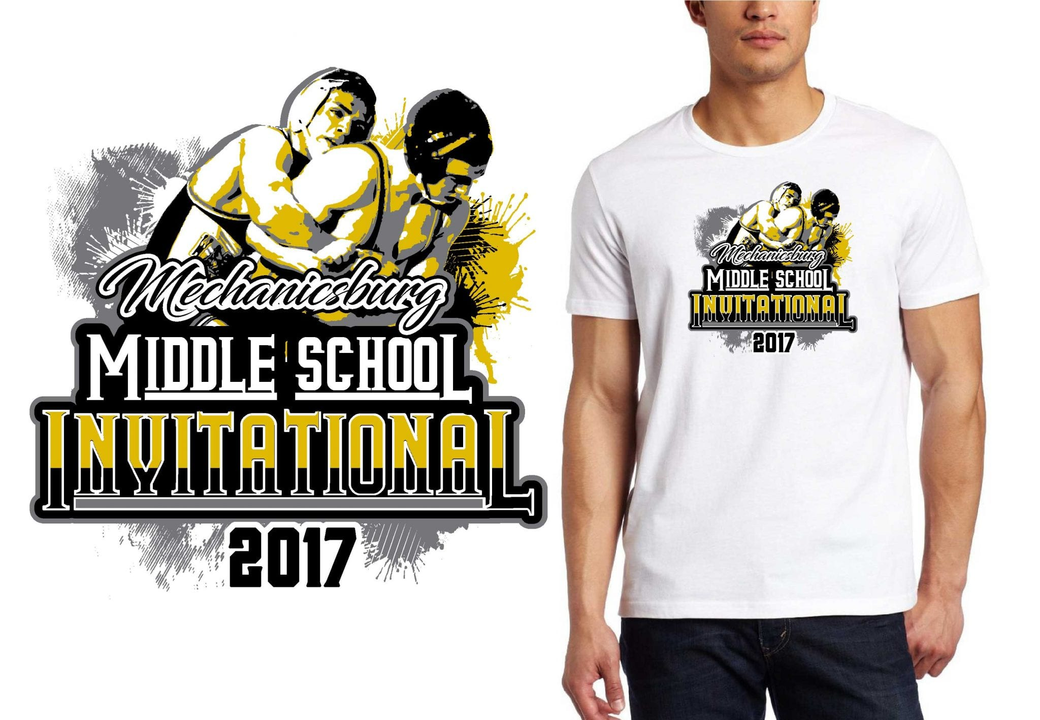 2017 Mechanicsburg Middle School Invitational vector logo design for wrestling t-shirt UrArtStudio