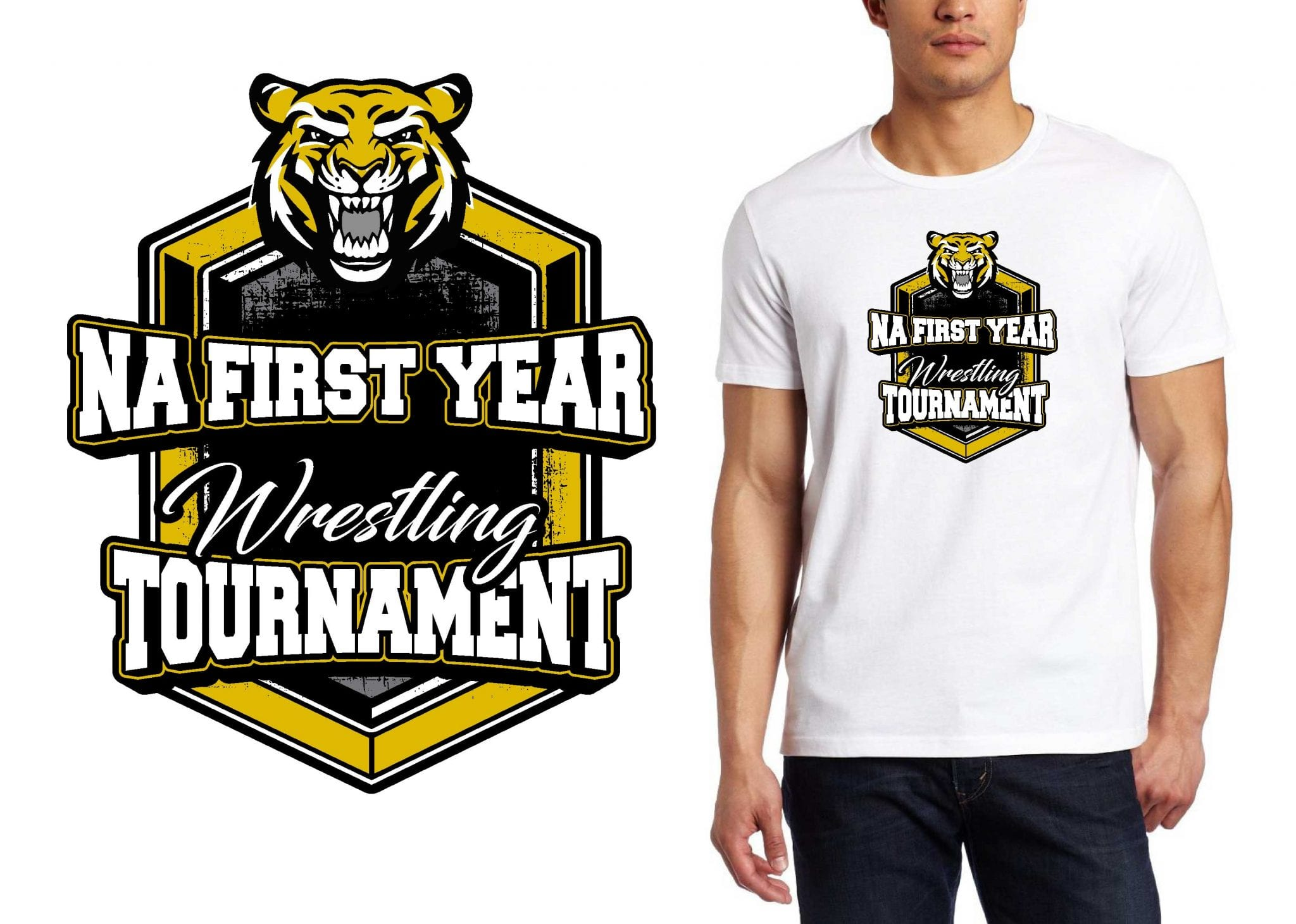 2017 NA 1st and 3rd Year Wreslting Tournament vector logo design for t-shirt UrArtStudio