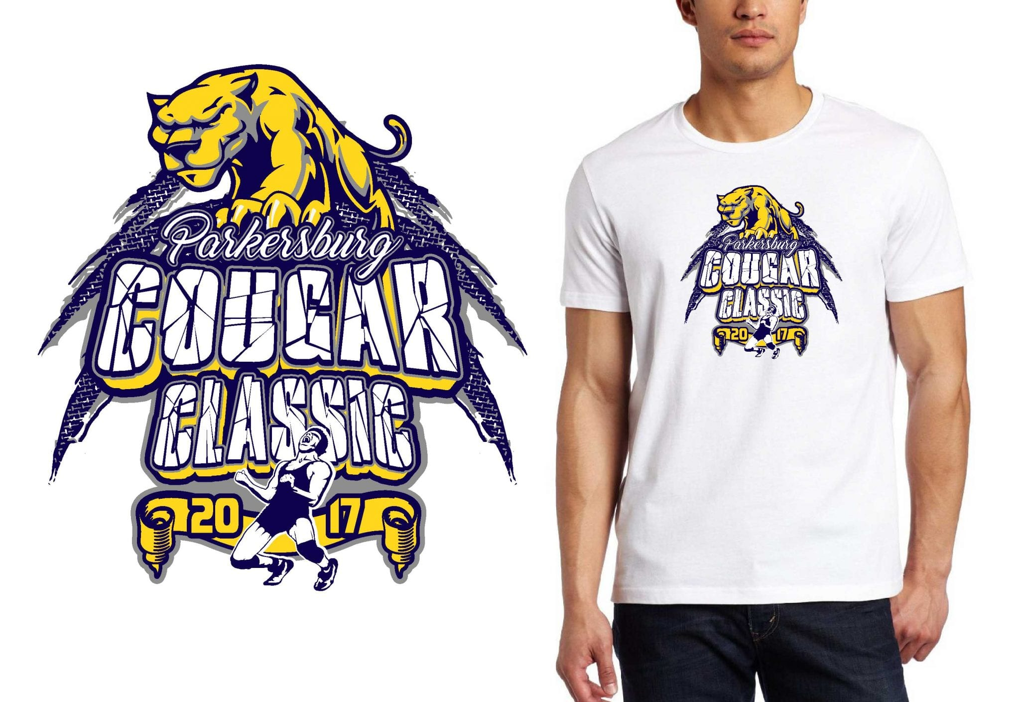2017 Parkersburg Cougar Classic vector logo design for wrestling t-shirt UrArtStudio