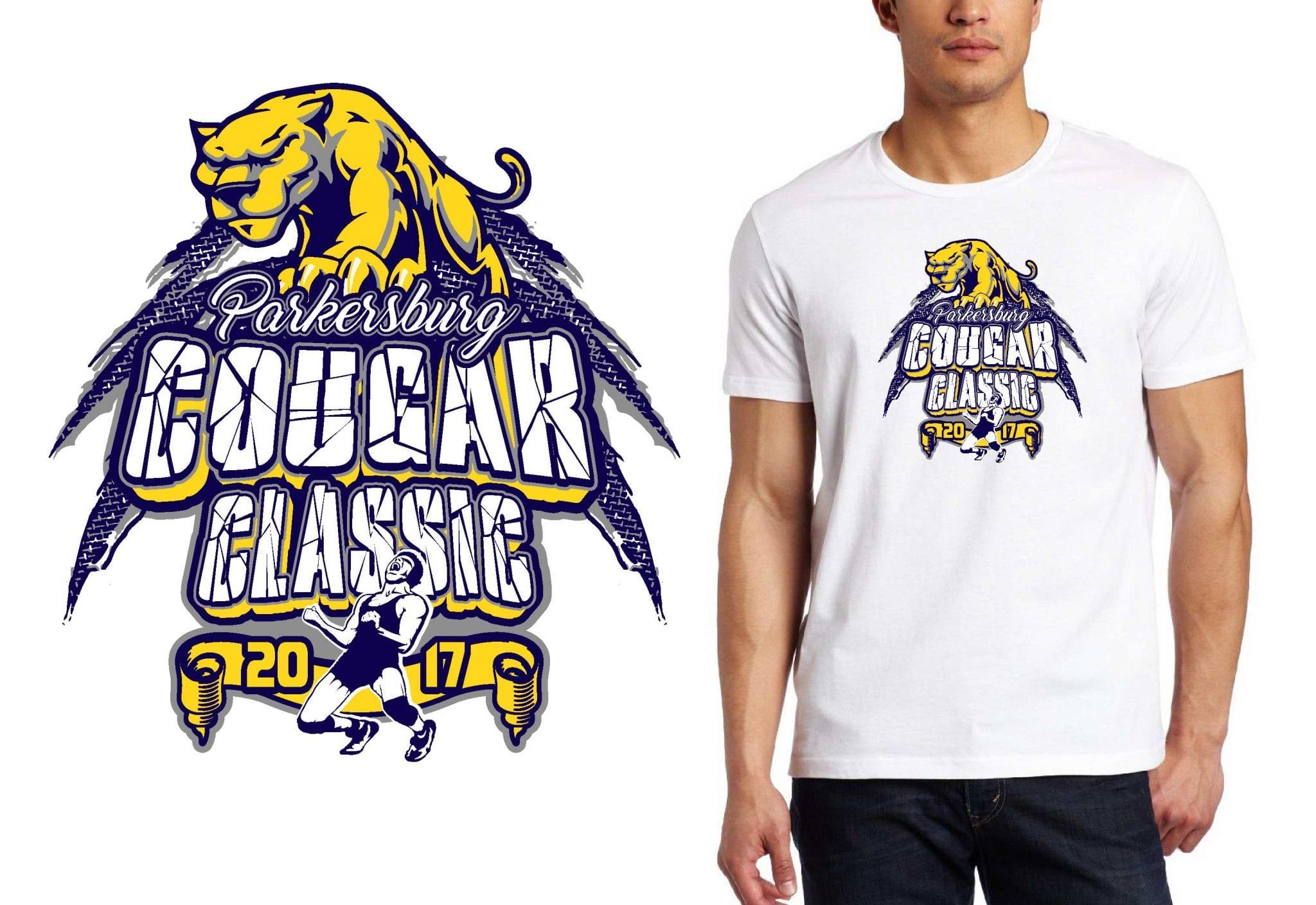 2017 Parkersburg Cougar Classic vector logo design for wrestling t-shirt UrArtStudio