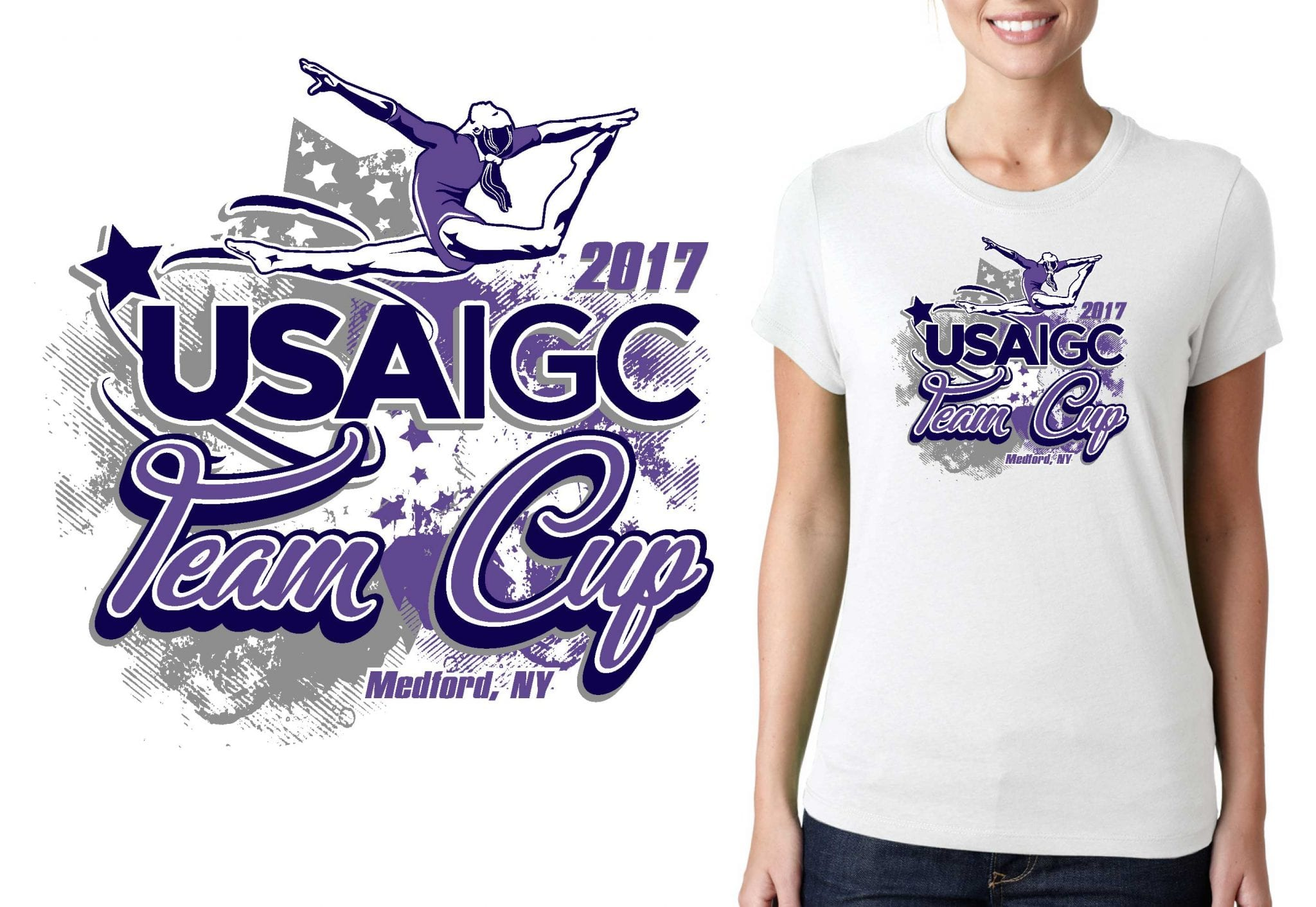 2017 USAIGC Team Cup vector logo design for gymnastics t-shirt UrArtStudio