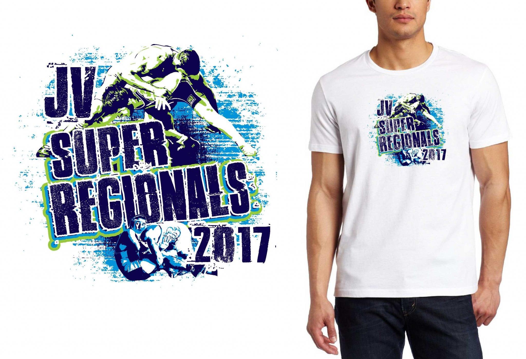 2017 JV Super Regionals vector logo design for wrestling t-shirt UrArtStudio