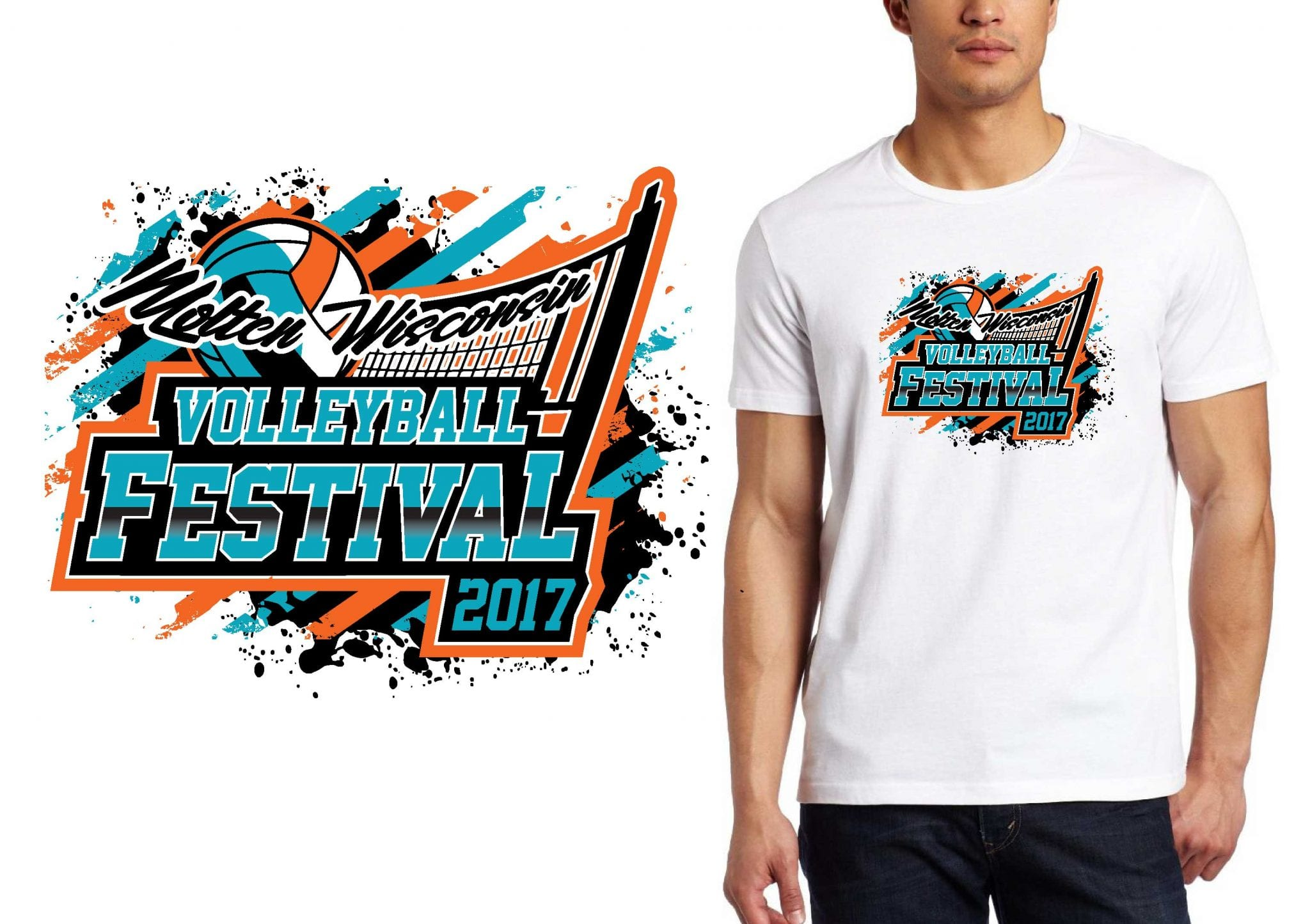 2017 Molten Wisconsin Volleyball Festival vector logo design for t-shirt UrArtStudio