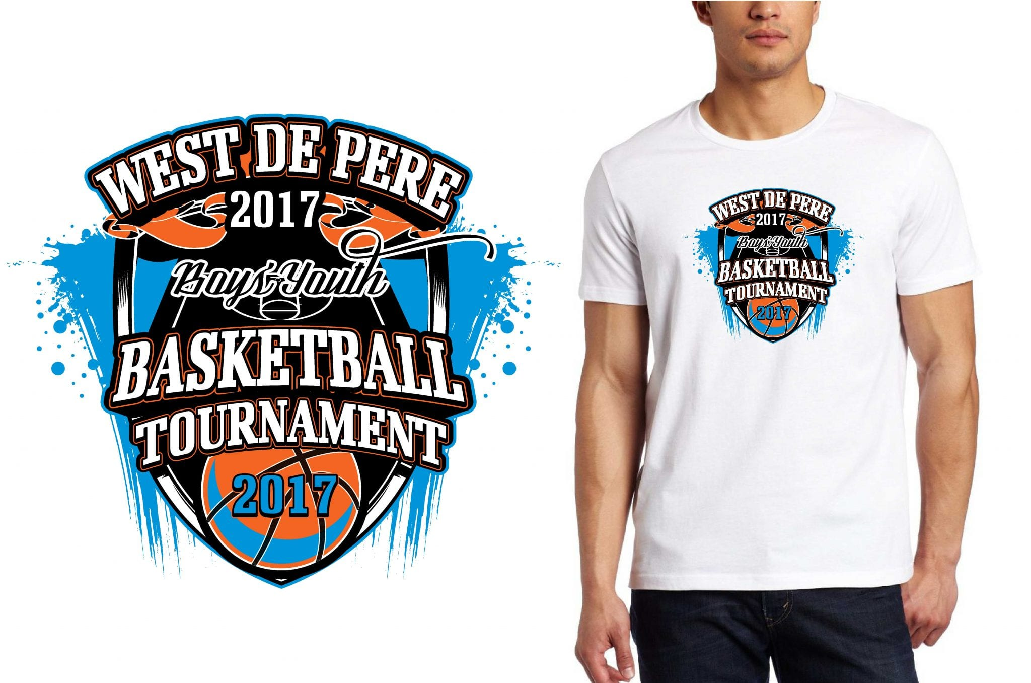 BASKETBALL LOGO for West-De-Pere-Boys-Youth-Basketball-Tournament T-SHIRT UrArtStudio