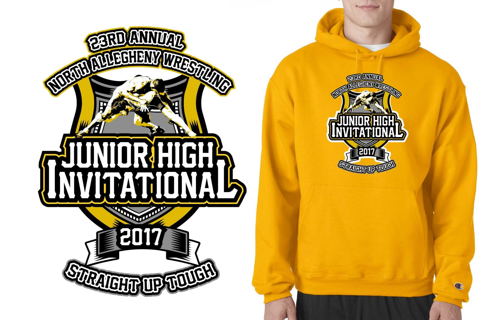 2017 23nd Annual NA Junior High School vector logo design for wrestling t-shirt UrArtStudio