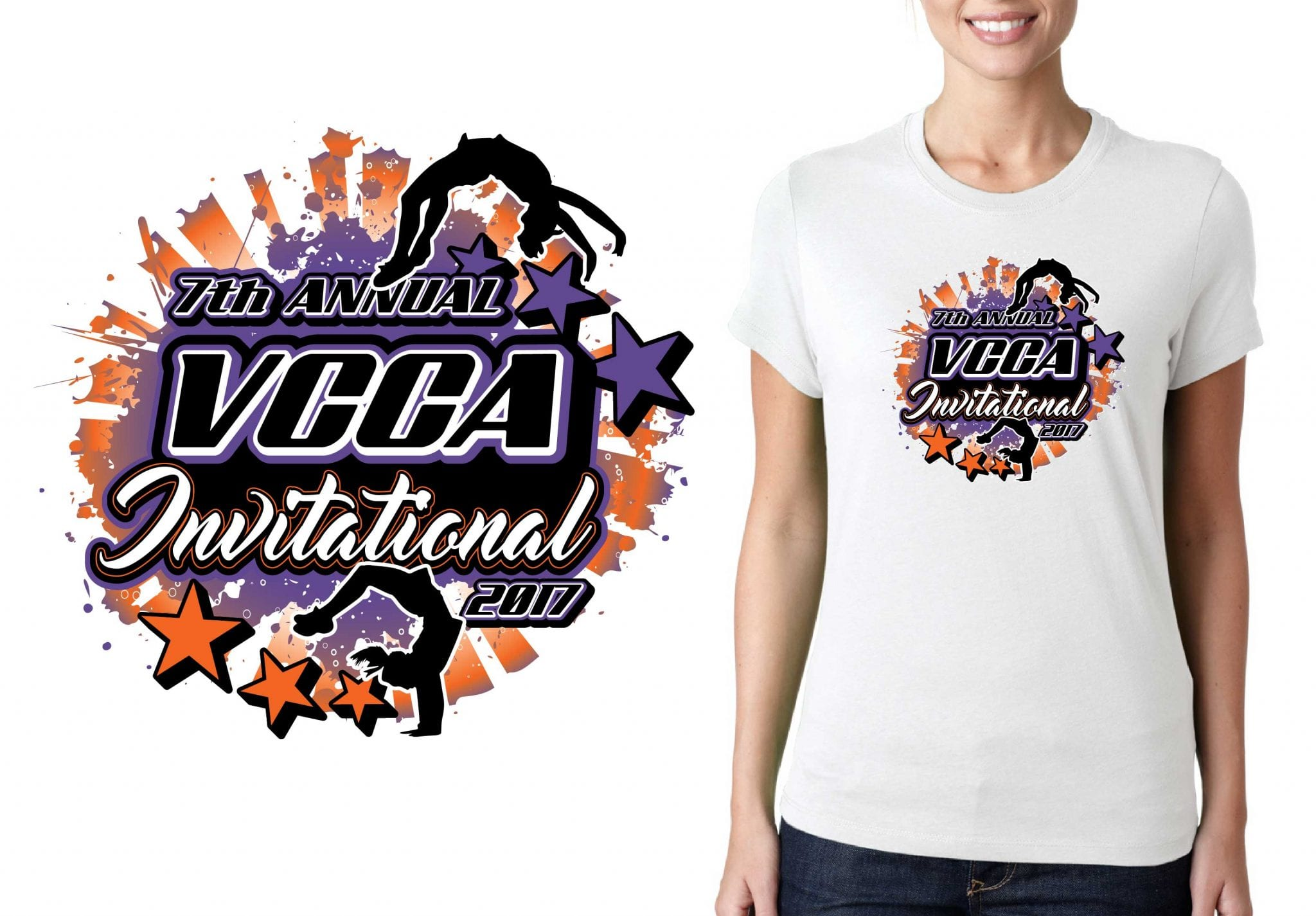 2017 7th Annual VCCA Invitational vector logo design for cheer t-shirt UrArtStudio
