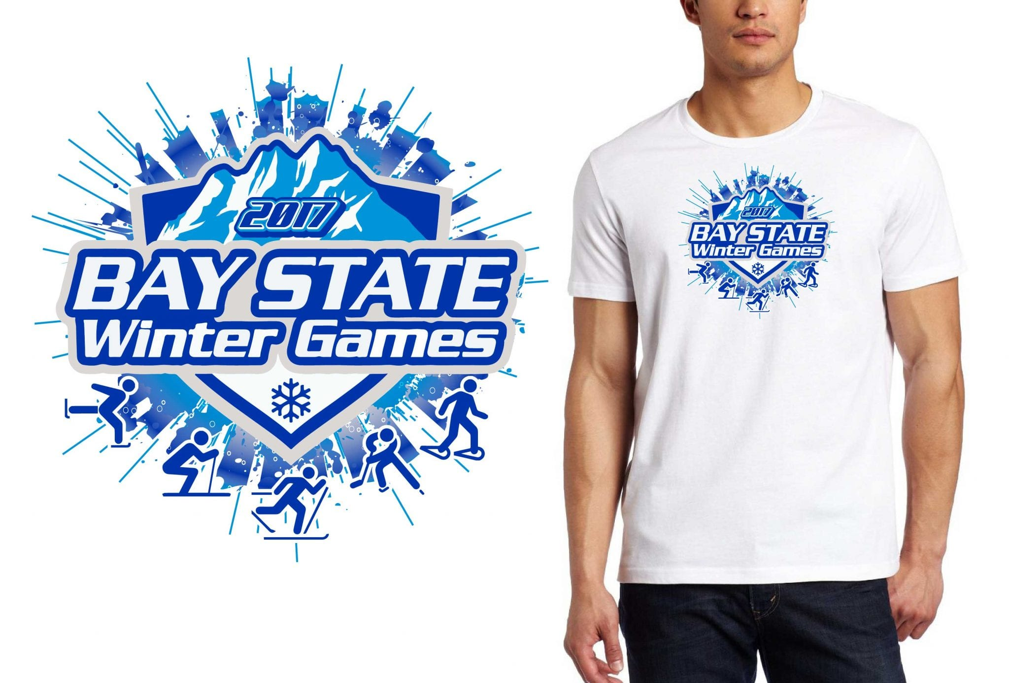 FRONT 2017 Bay State Winter Games vector logo design for skating t-shirt UrArtStudio