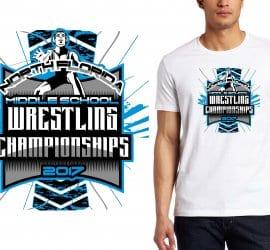 2017 North Florida MS Wrestling Championships vector logo design for wrestling t-shirt UrArtStudio