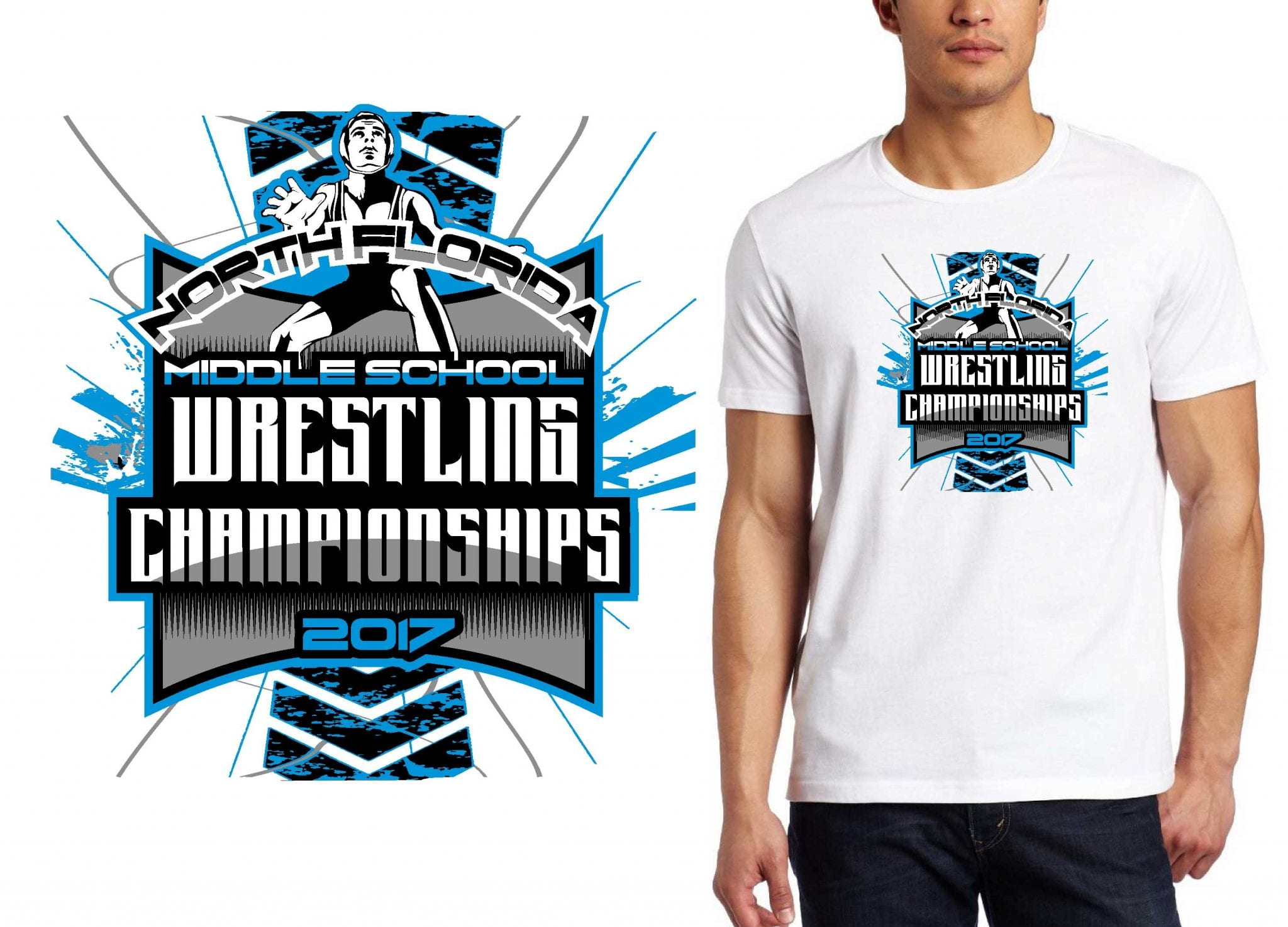 2017 North Florida MS Wrestling Championships vector logo design for wrestling t-shirt UrArtStudio