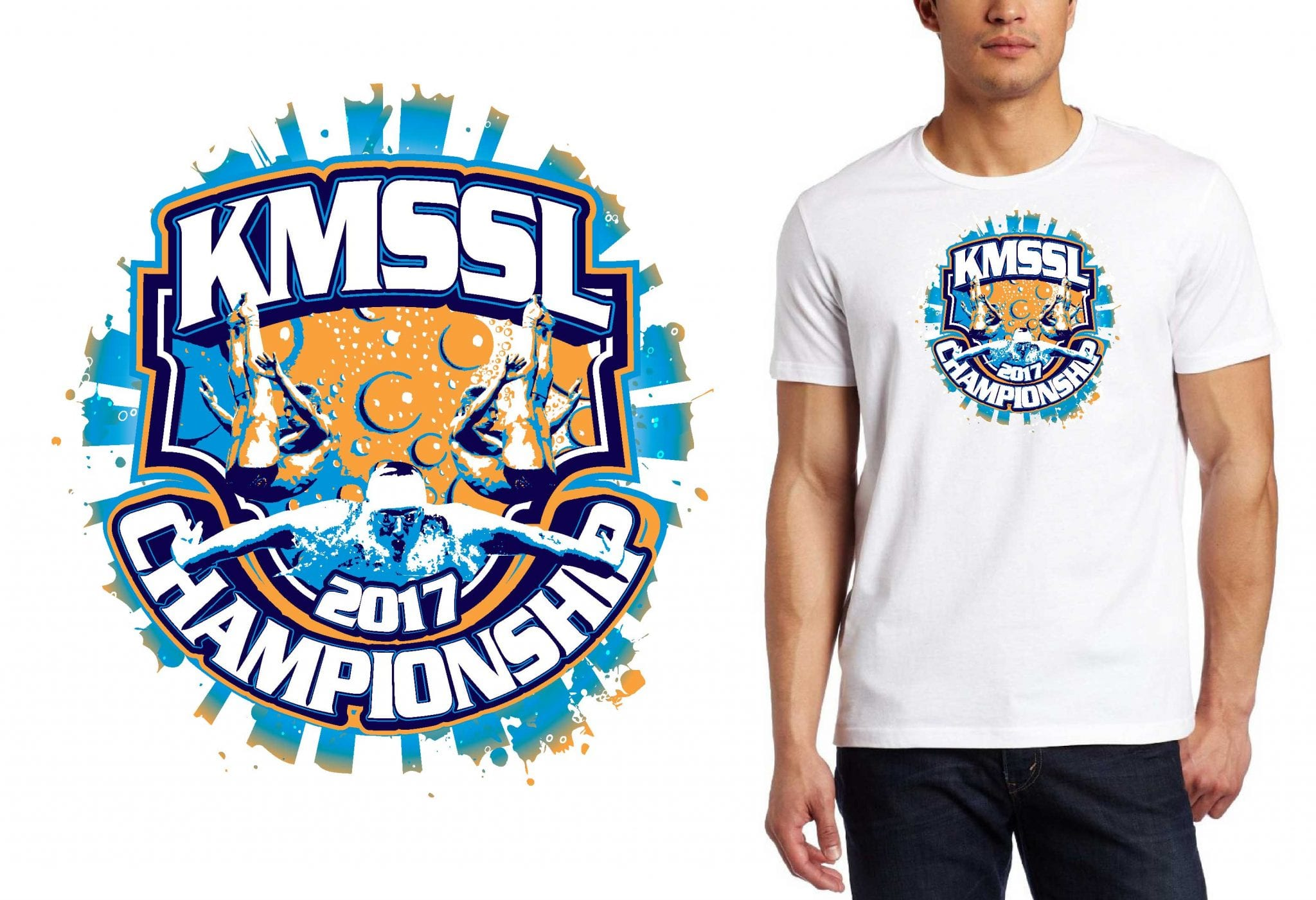 PRINT 1 29 2017 KMSSL Championships tshirt vector logo design for swimming