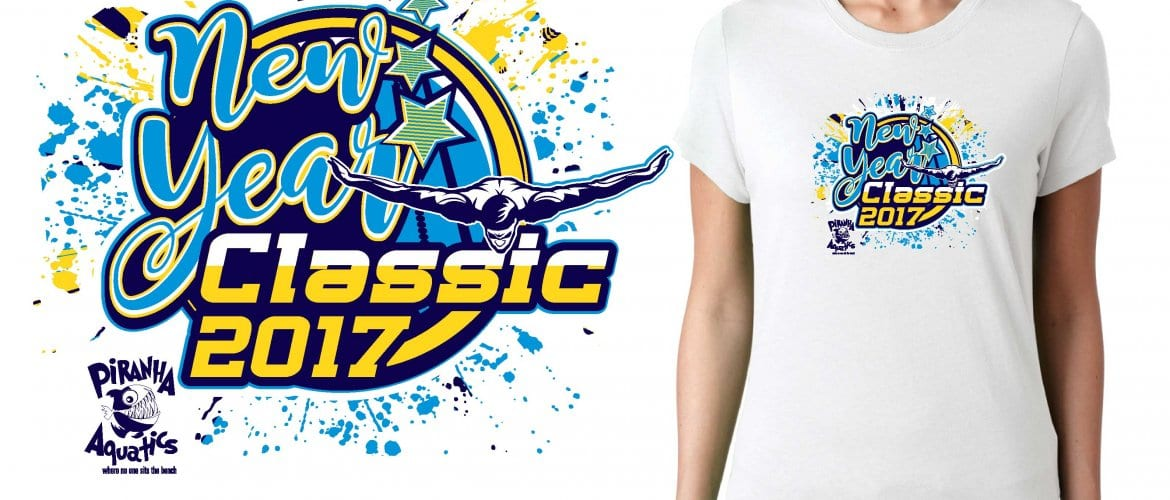 2017 New Year Classic vector logo design for swimming t-shirt UrArtStudio