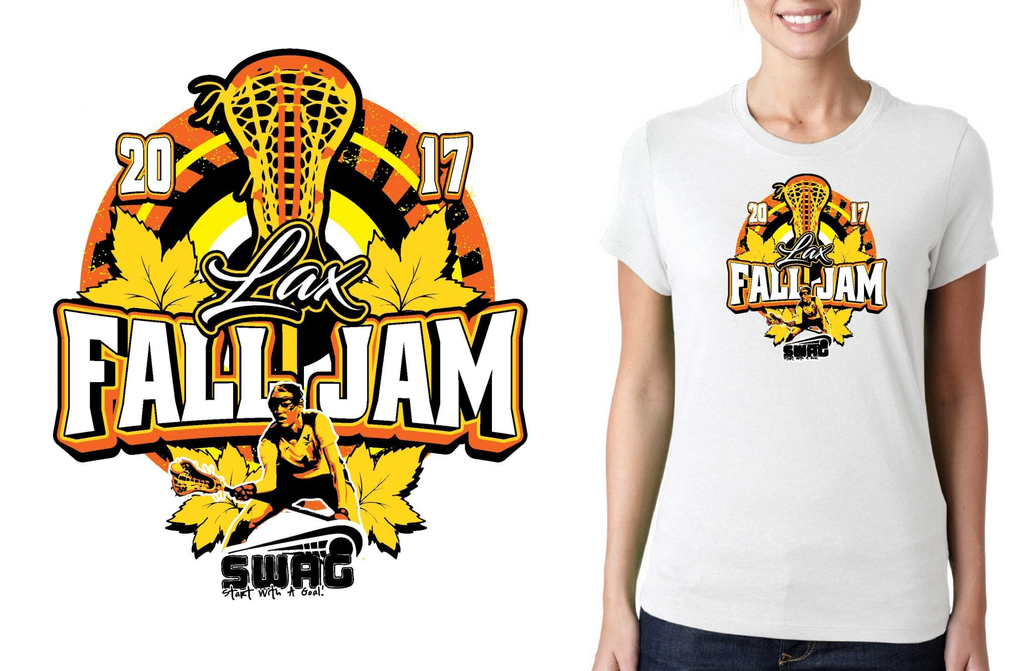 LACROSSE LOGO for LAX-Fall-Jam T-SHIRT UrArtStudio
