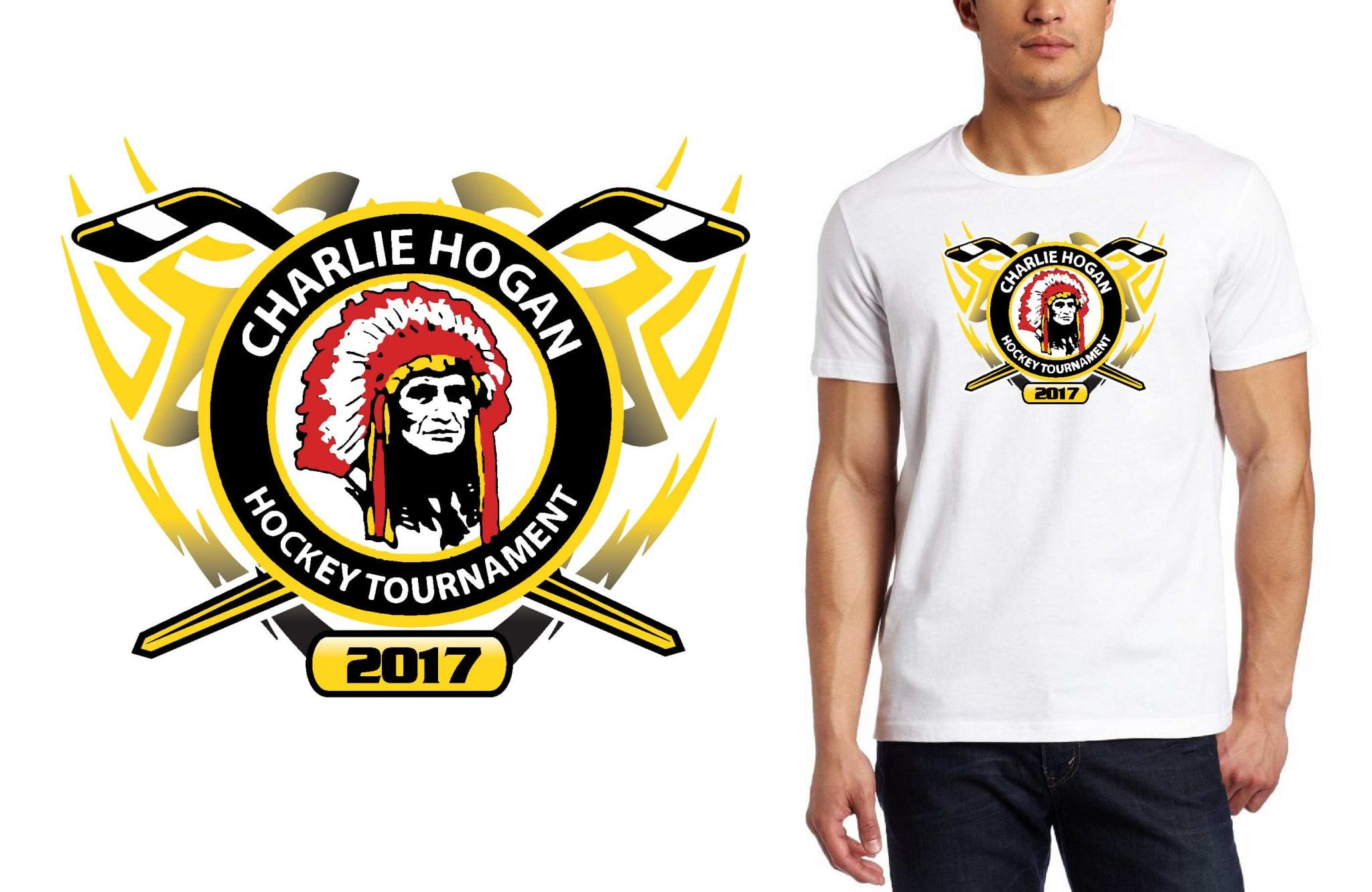 HOCKEY LOGO for Charlie-Hogan-Memorial-Tournament-younger-players T-SHIRT UrArtStudio