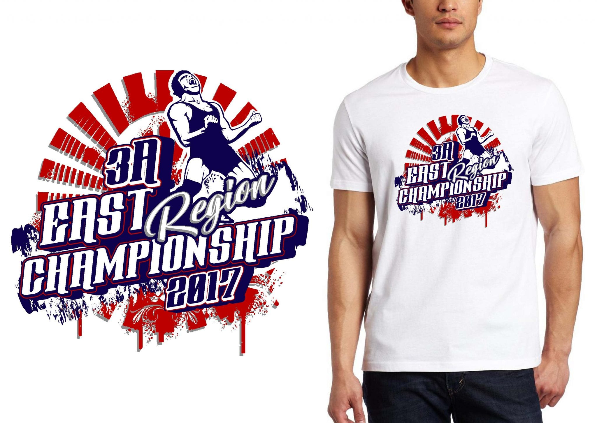 LOGO for 3A East Region Championship Wrestling T-SHIRT UrArtStudio