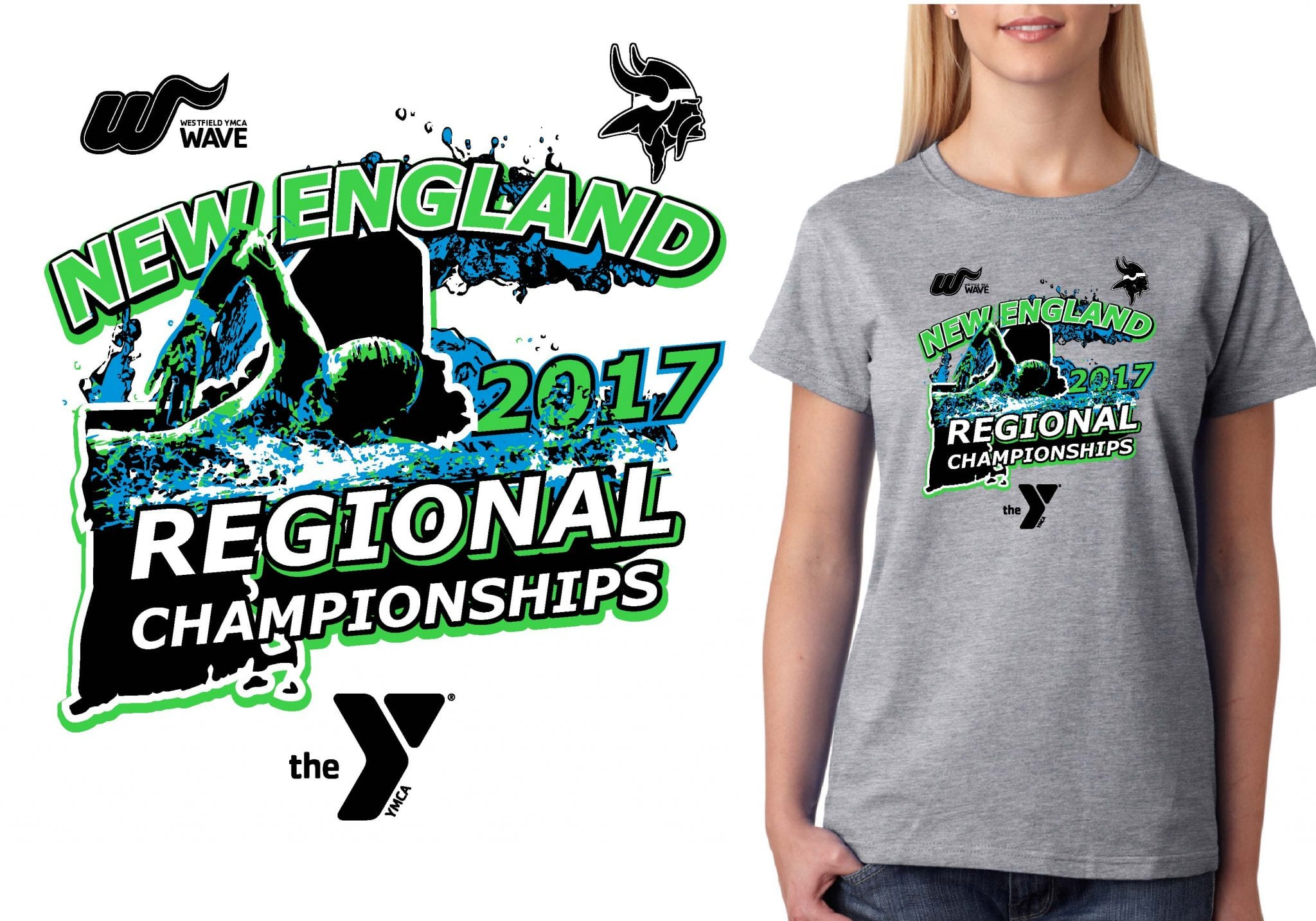 SWIMMING T SHIRT LOGO DESIGN New-England-Regional-Championships BY UrArtStudio