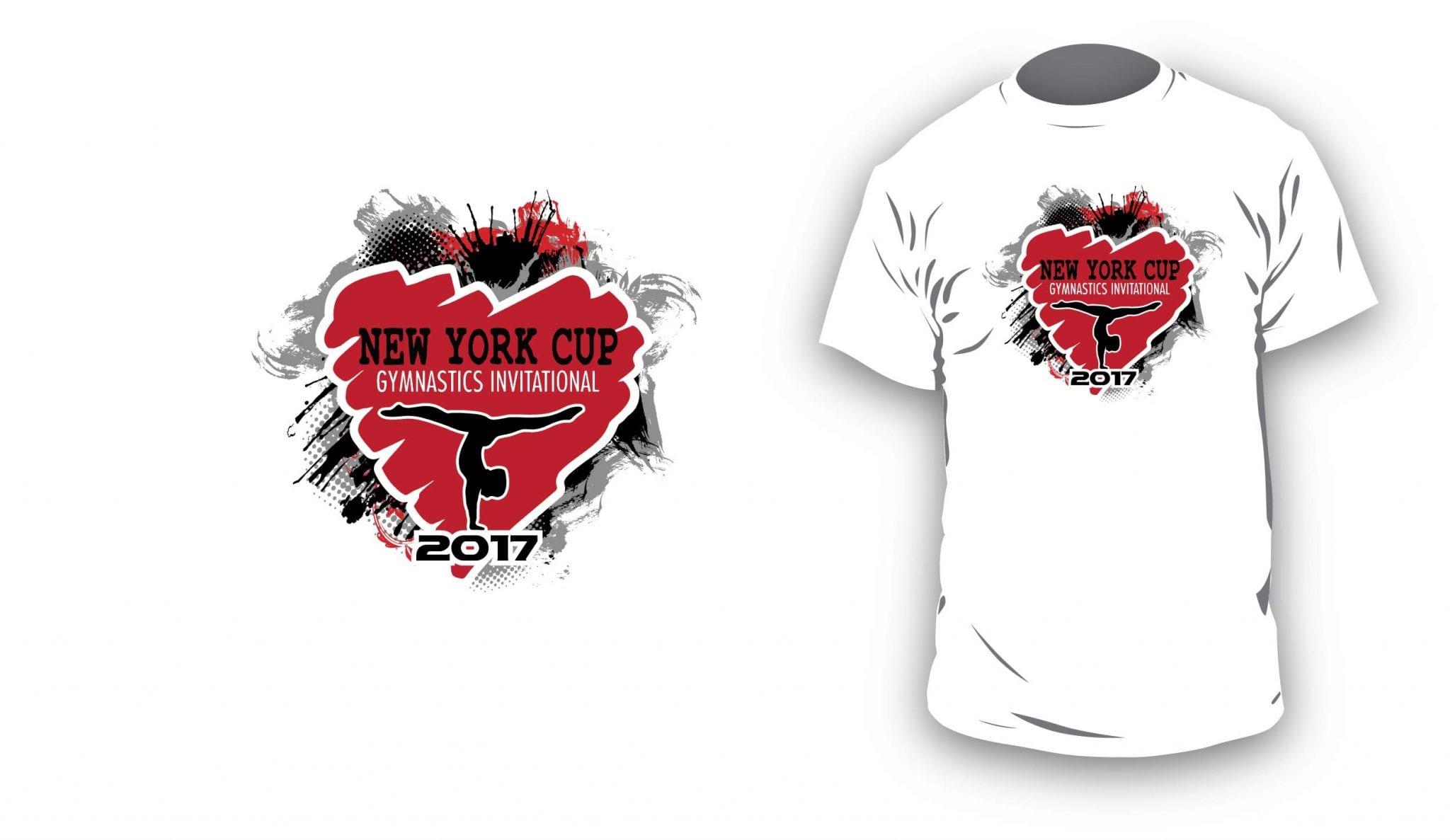 2017 I Love NY Cup vector logo design for gymnastics t-shirt UrArtStudio