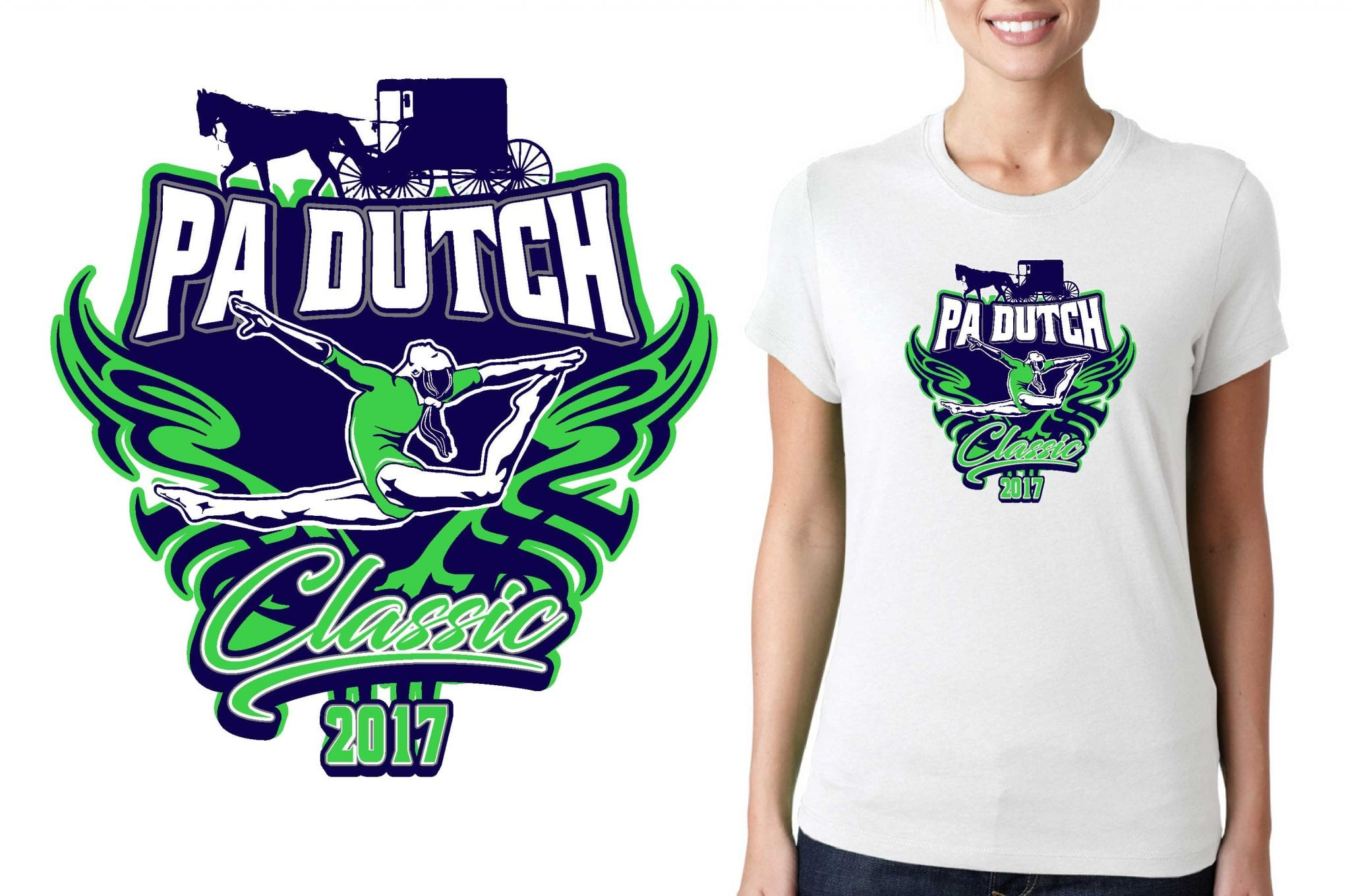 2017 PA Dutch Classic vector logo design for gymnastics t-shirt UrArtStudio