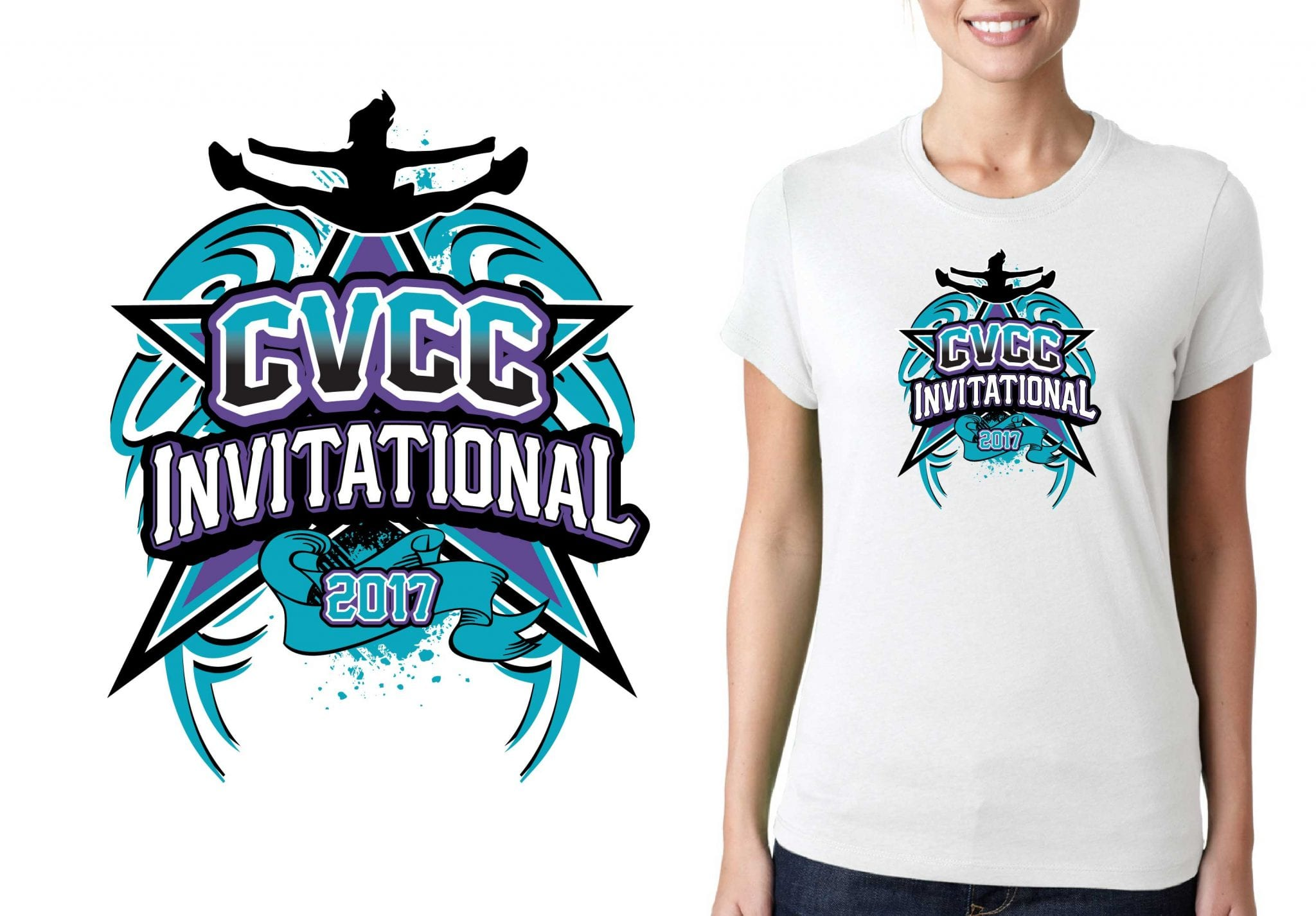 2017 CVCC Invitational vector logo design for cheer t-shirt UrArtStudio