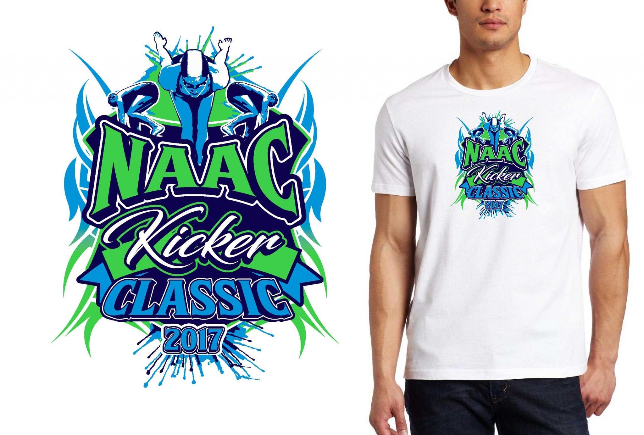 2017 NAAC Kicker Classic vector logo design for swimming t-shirt UrArtStudio