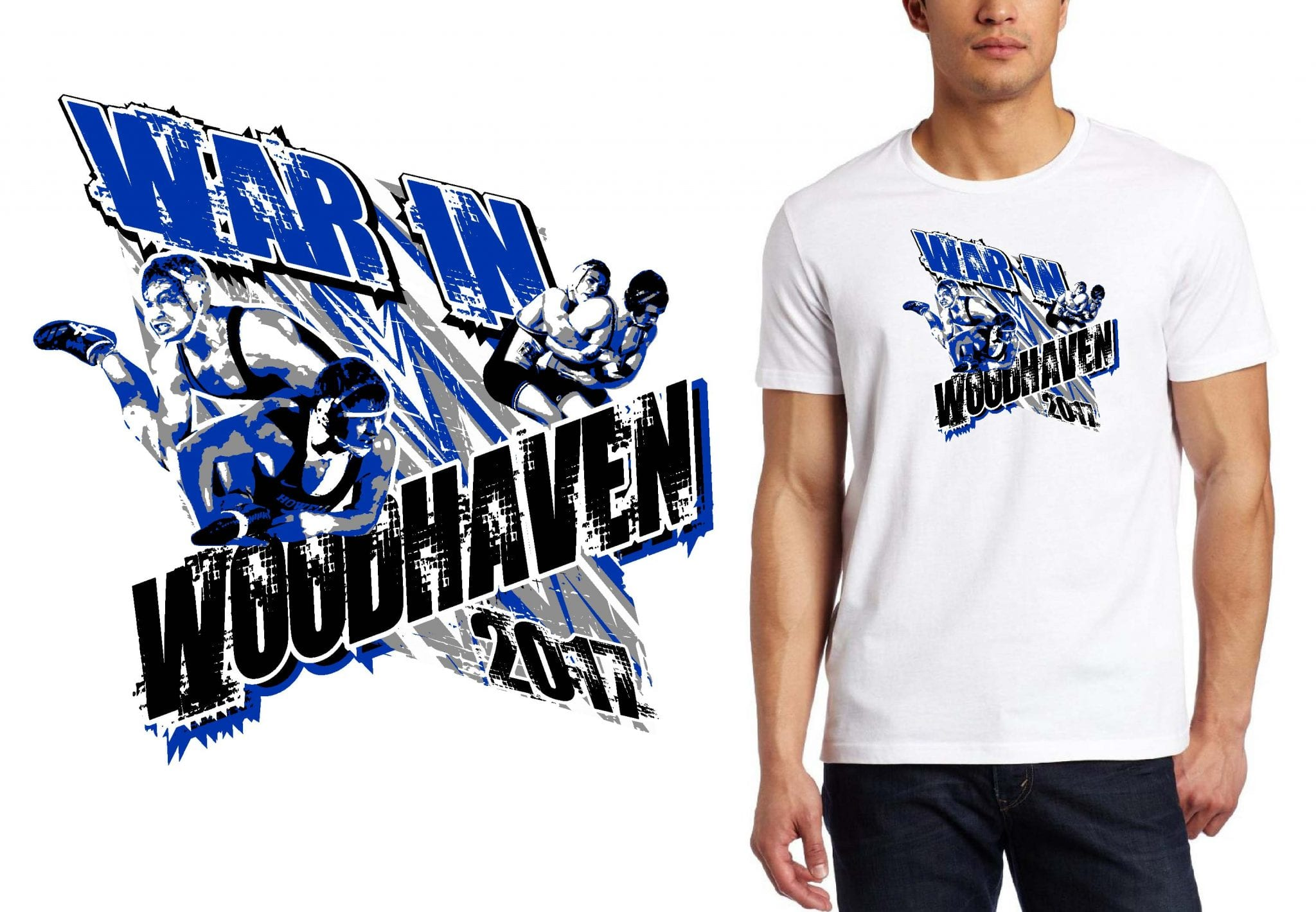 WRESTLING T SHIRT LOGO DESIGN War-In-Woodhaven BY UrArtStudio