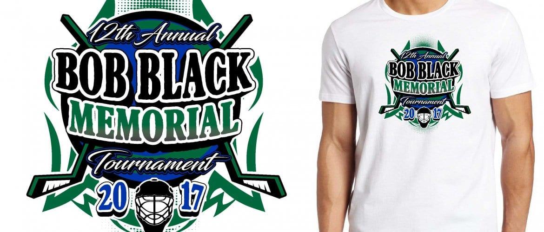 HOCKEY LOGO for 12th Annual Bob Black Memorial Tournament T-SHIRT UrArtStudio