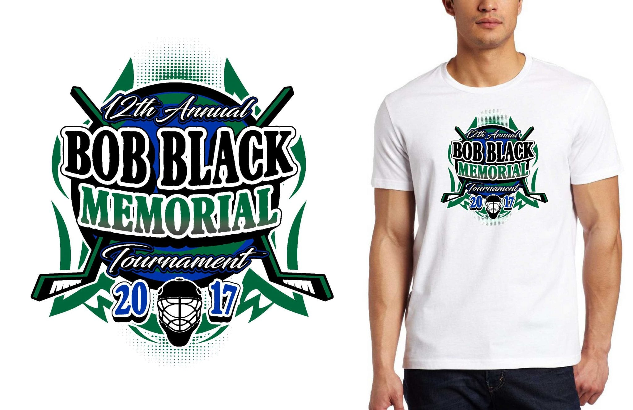 HOCKEY LOGO for 12th Annual Bob Black Memorial Tournament T-SHIRT UrArtStudio
