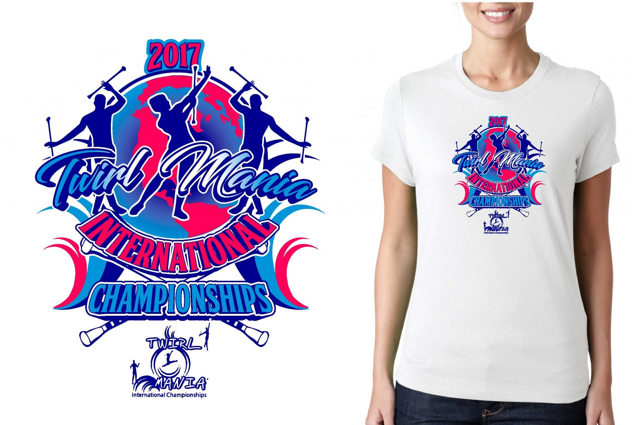 TWIRLING LOGO for Twirl-Mania-International-Championships T-SHIRT UrArtStudio