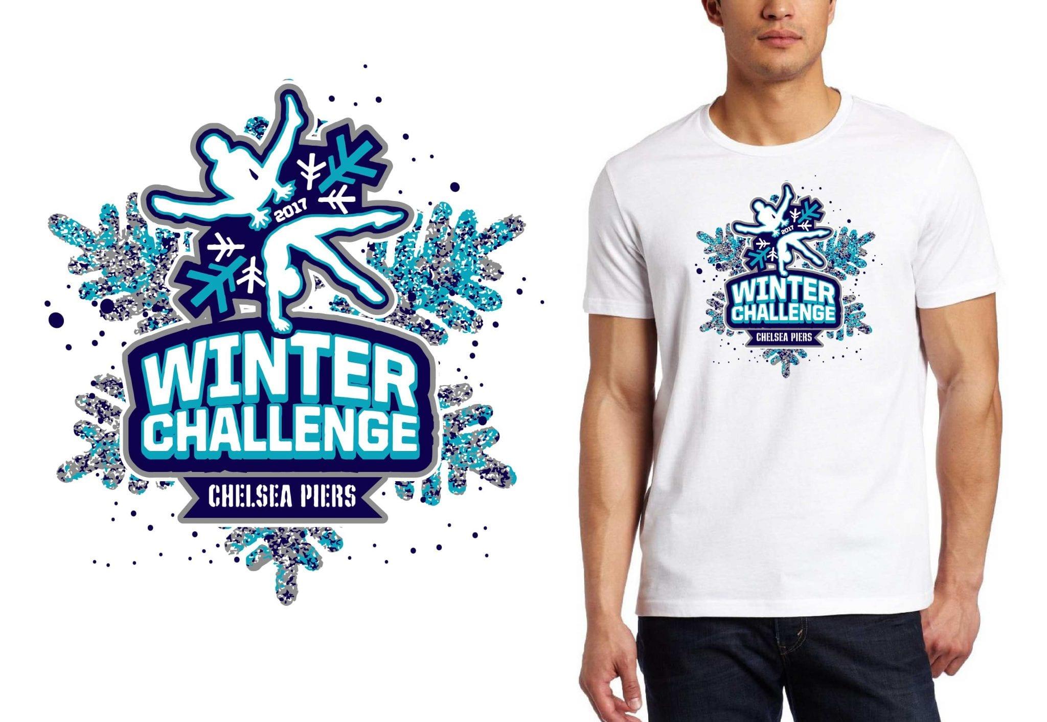 FRONT 2017 Winter Challenge vector logo design for gymnastics t-shirt UrArtStudio