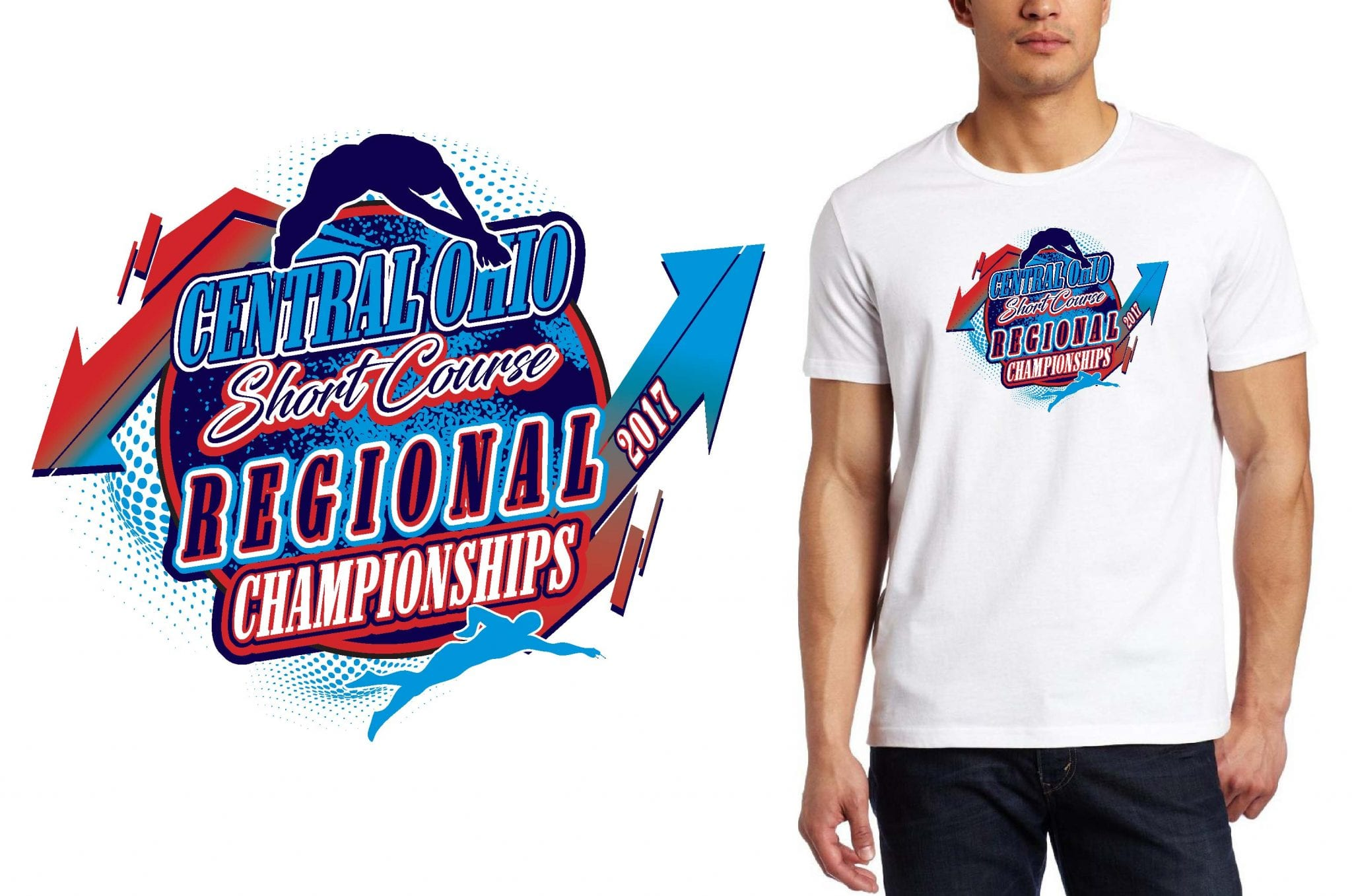 SWIMMING T SHIRT LOGO DESIGN Central-Ohio-Short-Course-Regional-Championships BY UrArtStudio