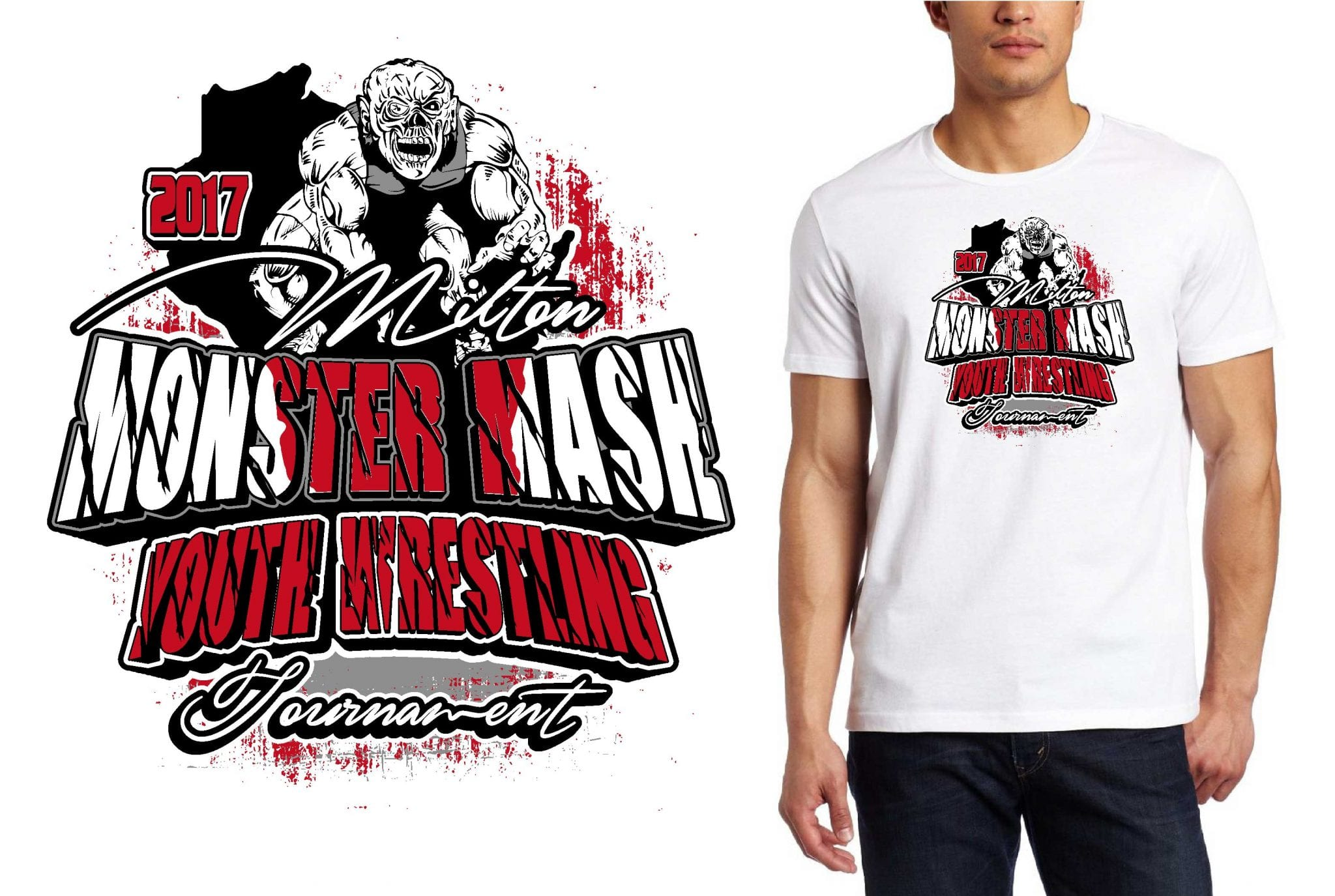 2 19 17 milton monster mash youth wrestling tournament for Wrestling tournament t shirt designs