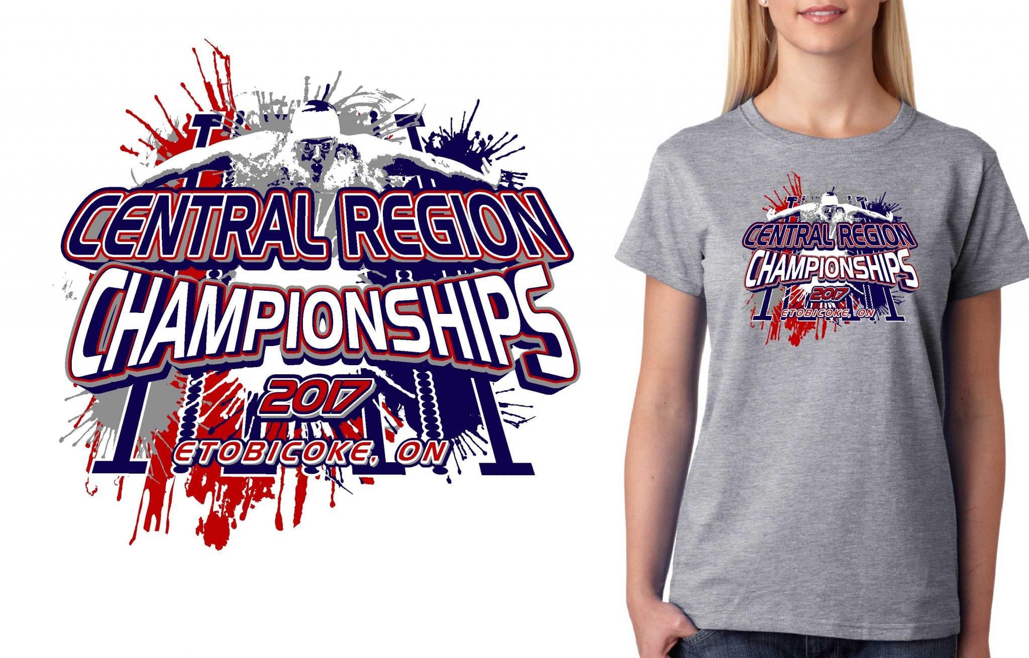 2017 Central Region B Championships vector logo design for swimming t-shirt UrArtStudio