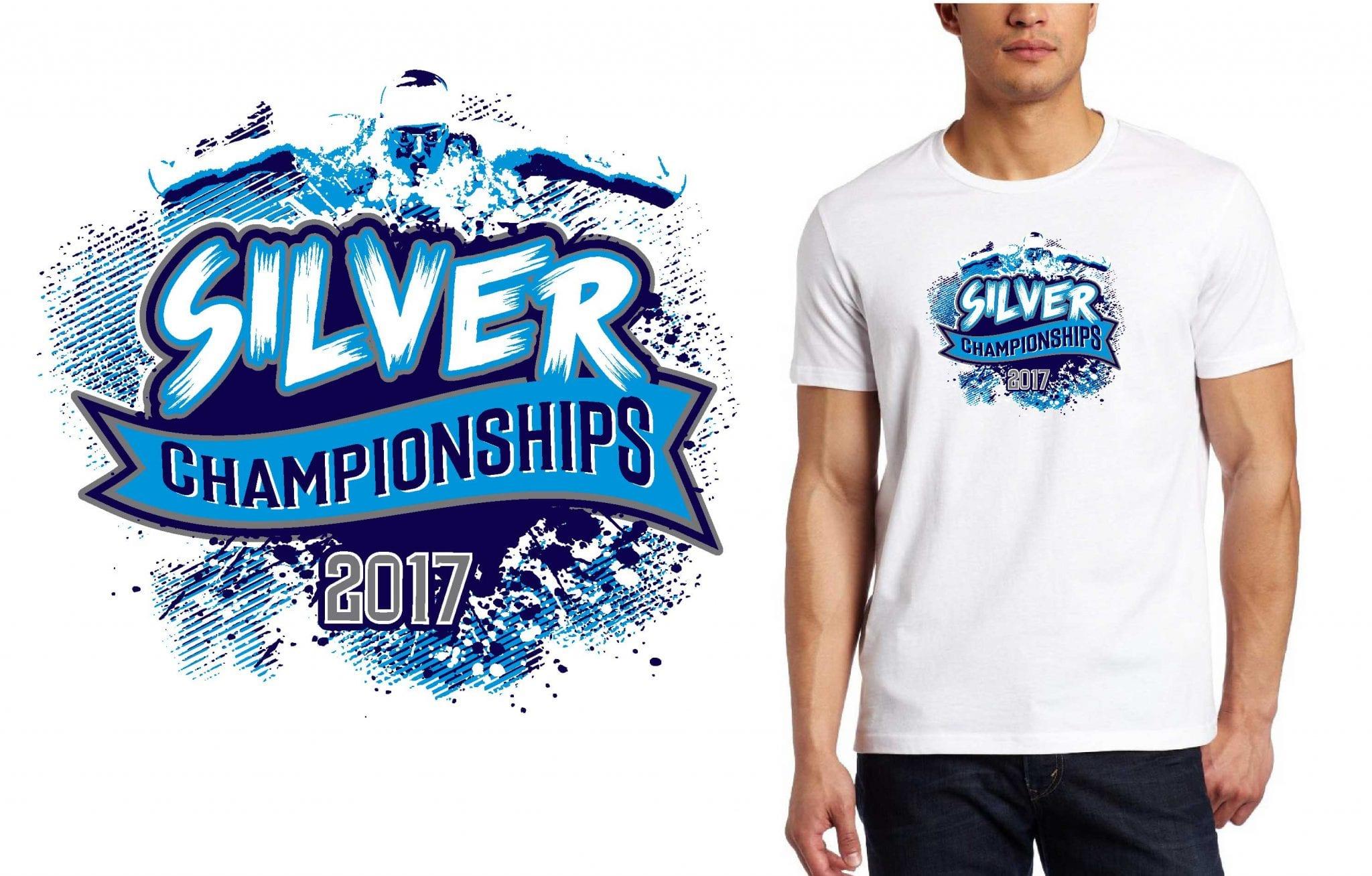 2017 Silver Championships vector logo design for swimming t-shirt UrArtStudio