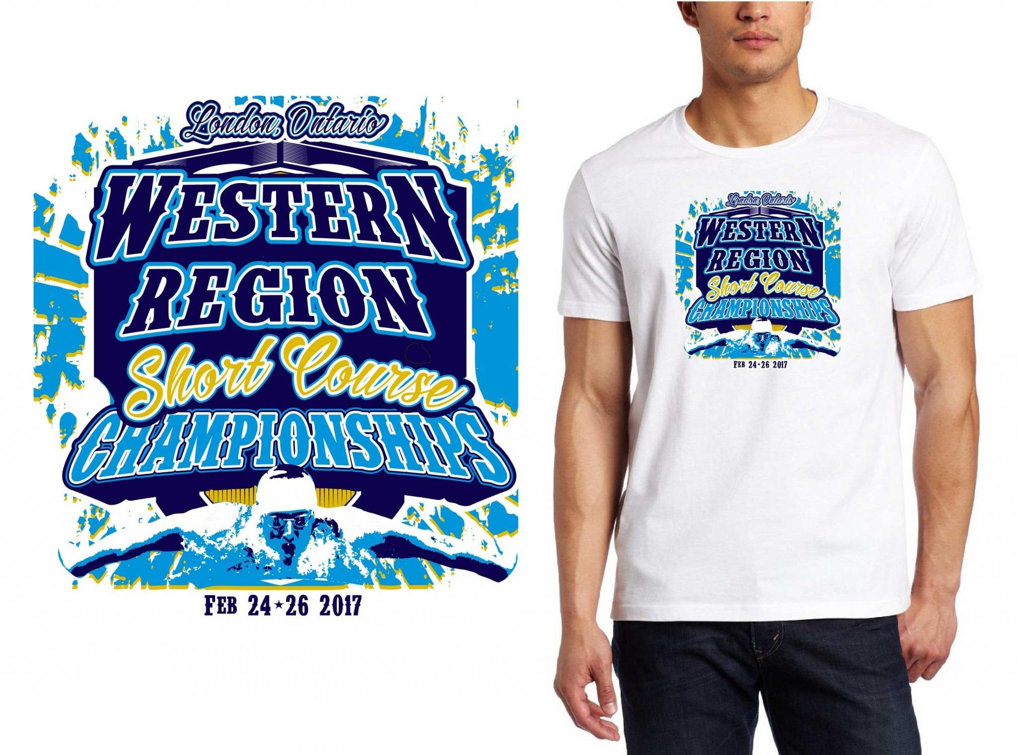 SWIMMING LOGO for western-Region-Swim-Competition-Championships T-SHIRT UrArtStudio