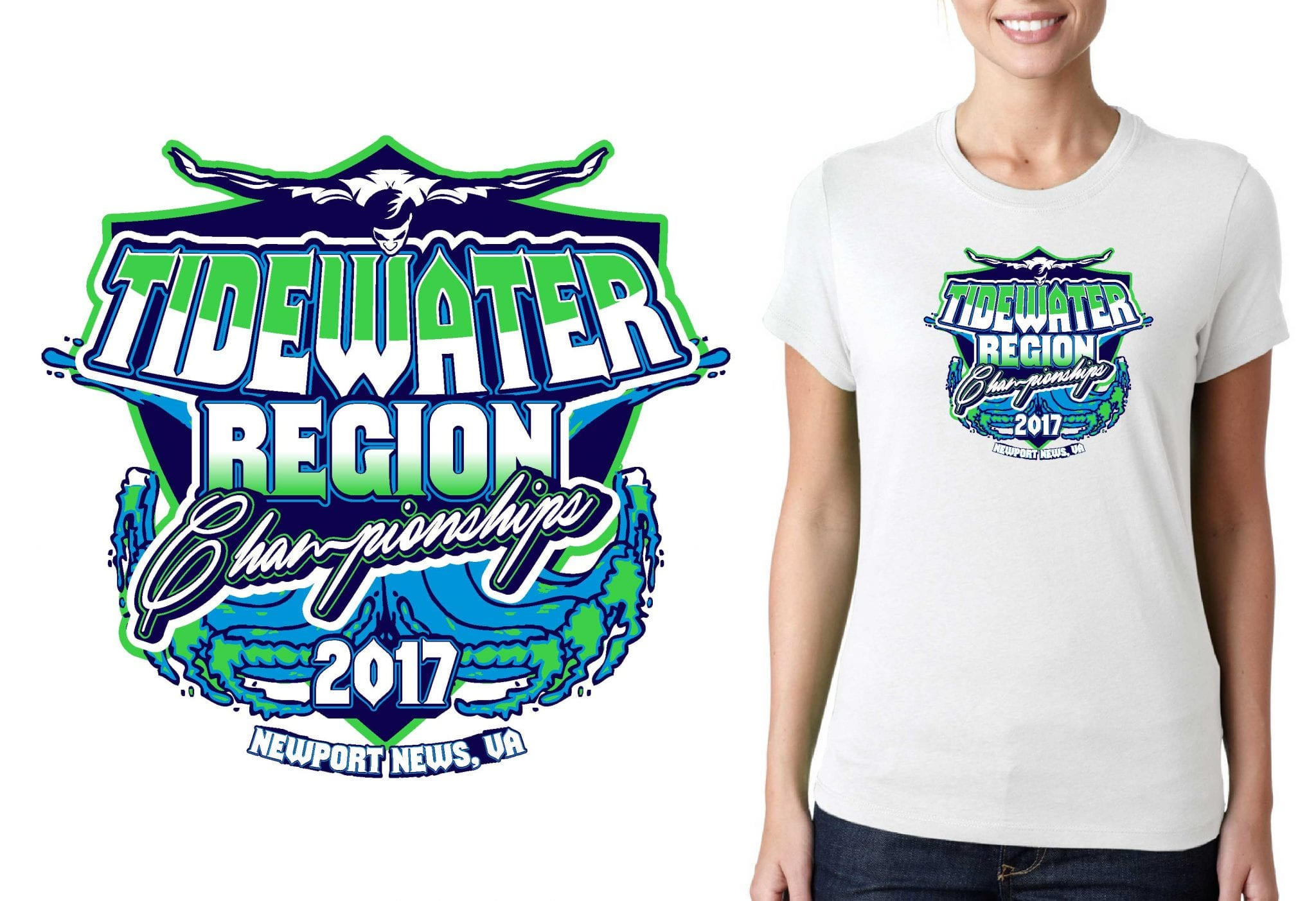 SWIMMING T SHIRT LOGO DESIGN Tidewater-Region-Championships BY UrArtStudio