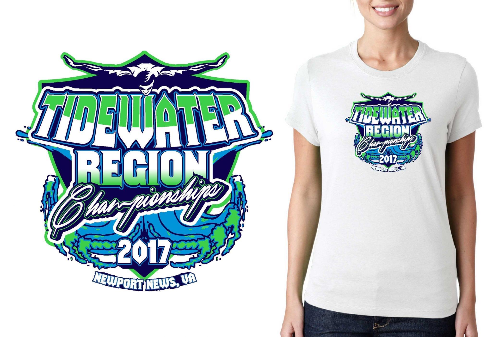 SWIMMING T SHIRT LOGO DESIGN Tidewater-Region-Championships BY UrArtStudio