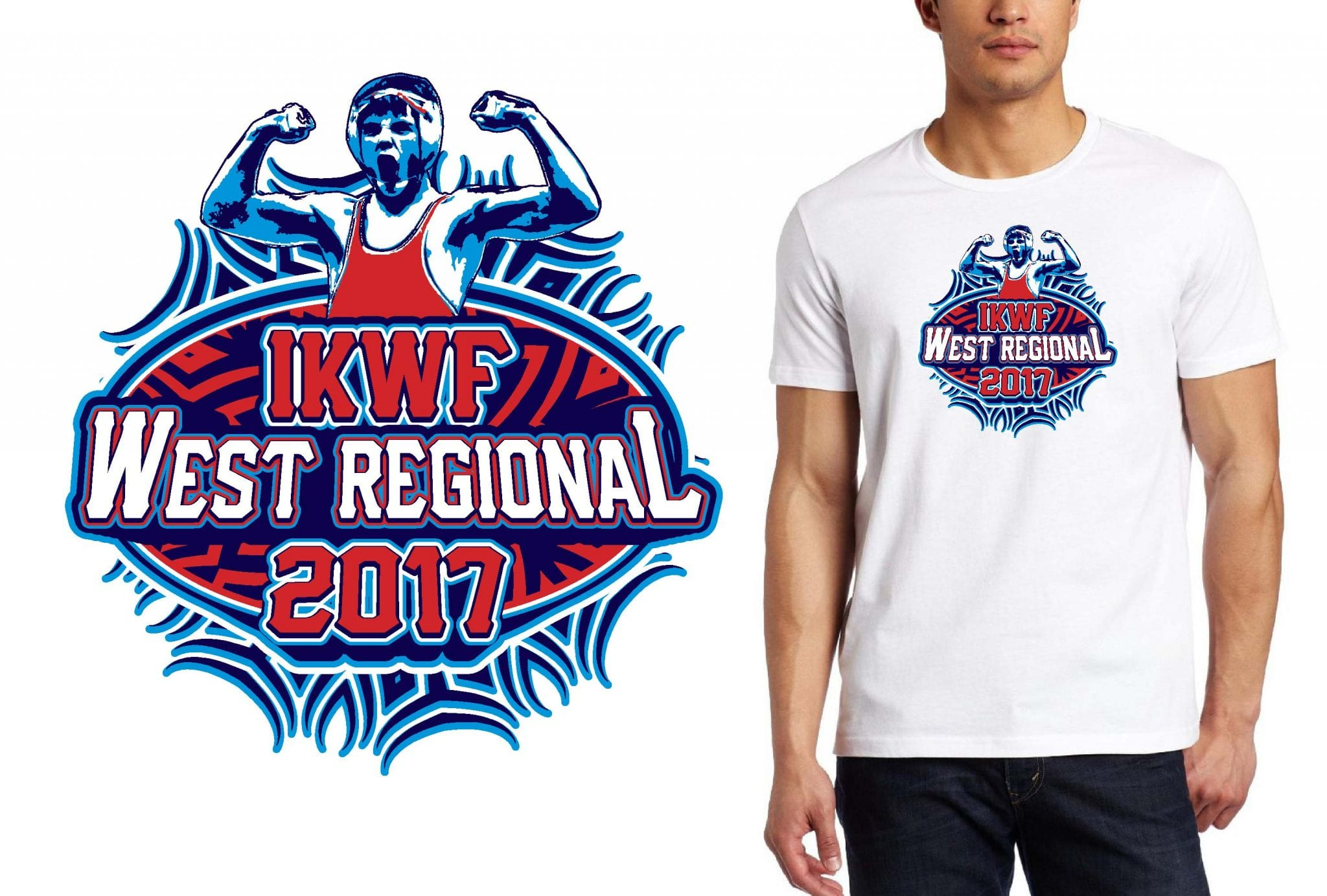WRESTLING T SHIRT LOGO DESIGN IKWF-West-Regional BY UrArtStudio