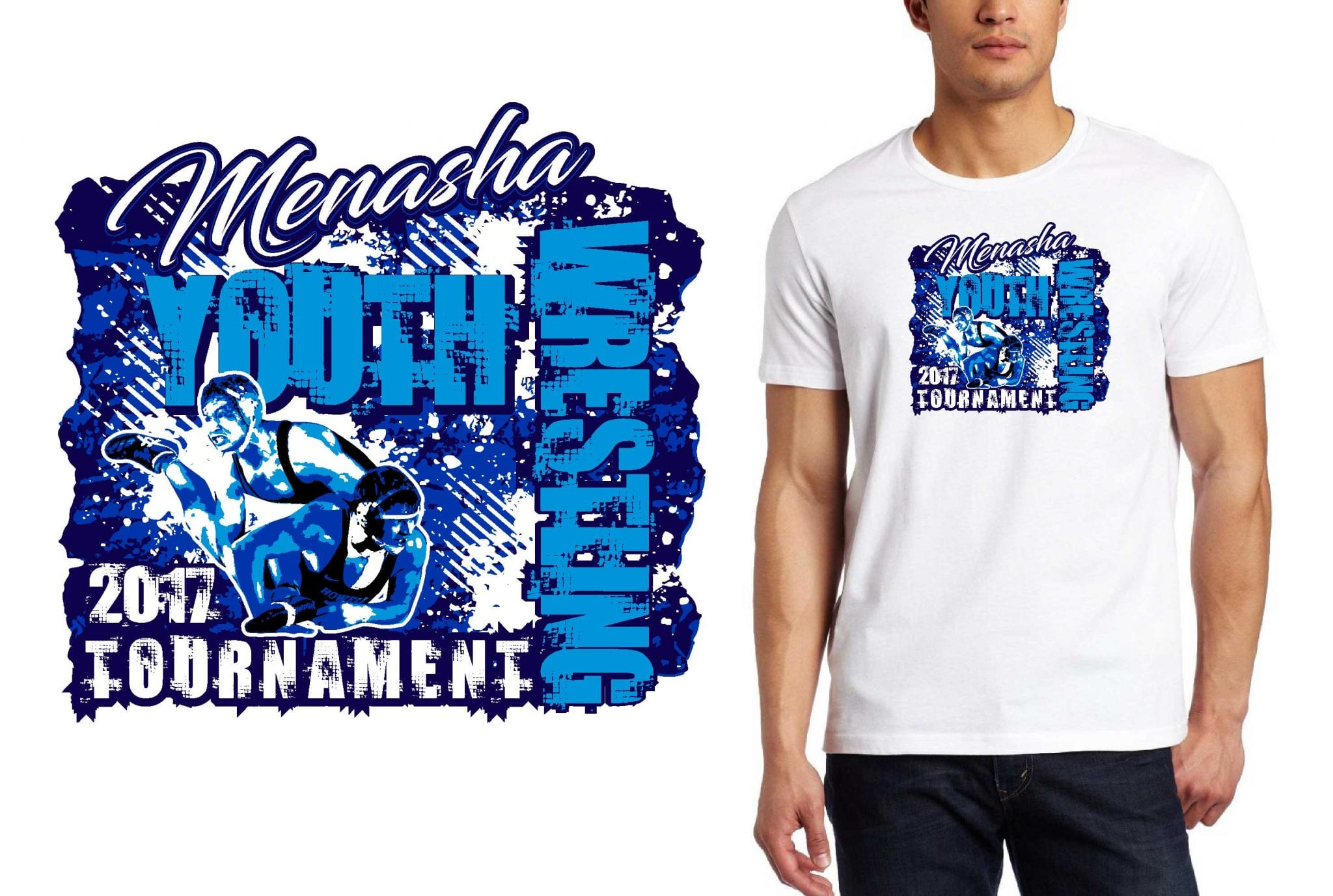 WRESTLING LOGO for Menasha-Youth-Wrestling-Tournament T-SHIRT UrArtStudio