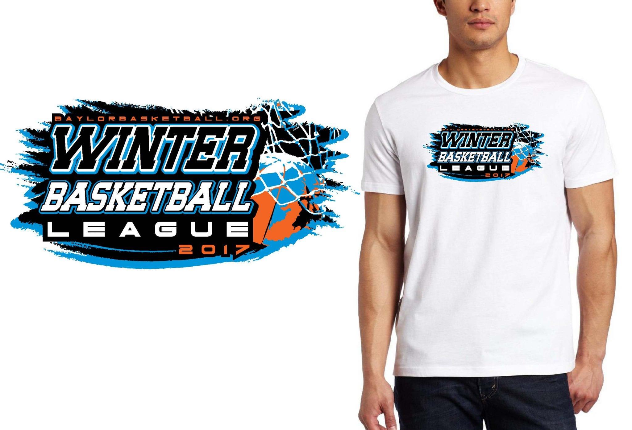 BASKETBALL T SHIRT LOGO DESIGN Baylor-Winter-Basketball-League BY UrArtStudio