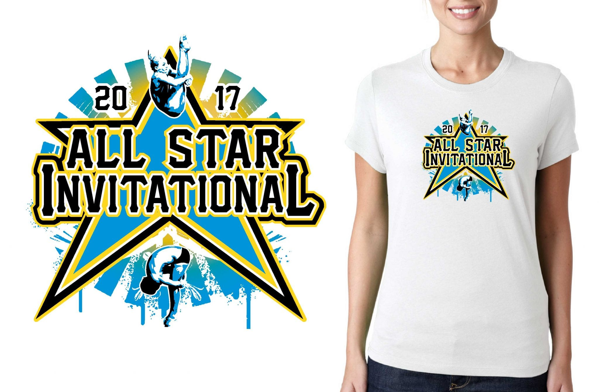 2017 All Star Challenge Dive Meet vector logo design for diving t-shirt UrArtStudio