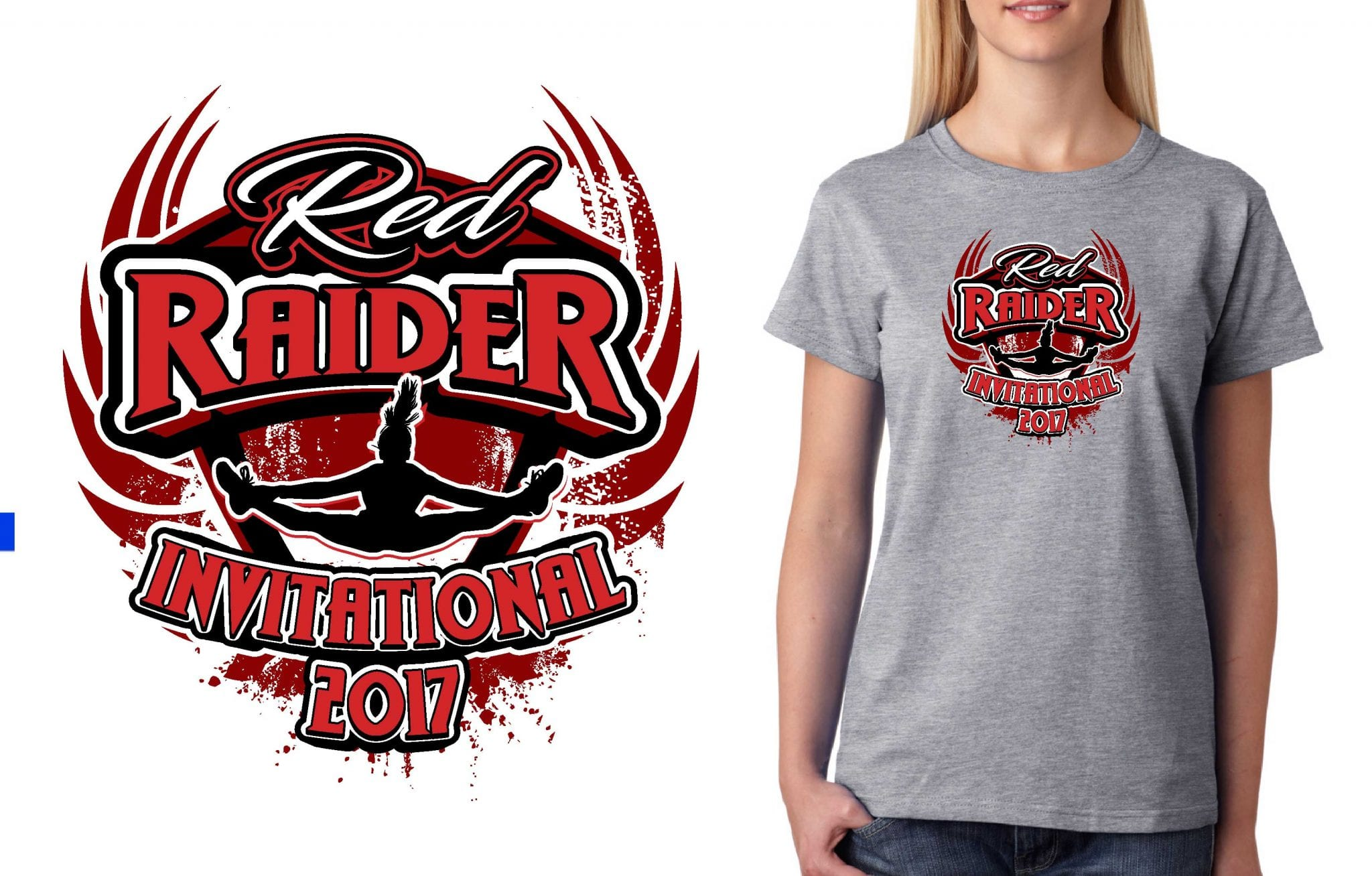 2017 Red Raider Invitational vector logo design for cheer t-shirt UrArtStudio