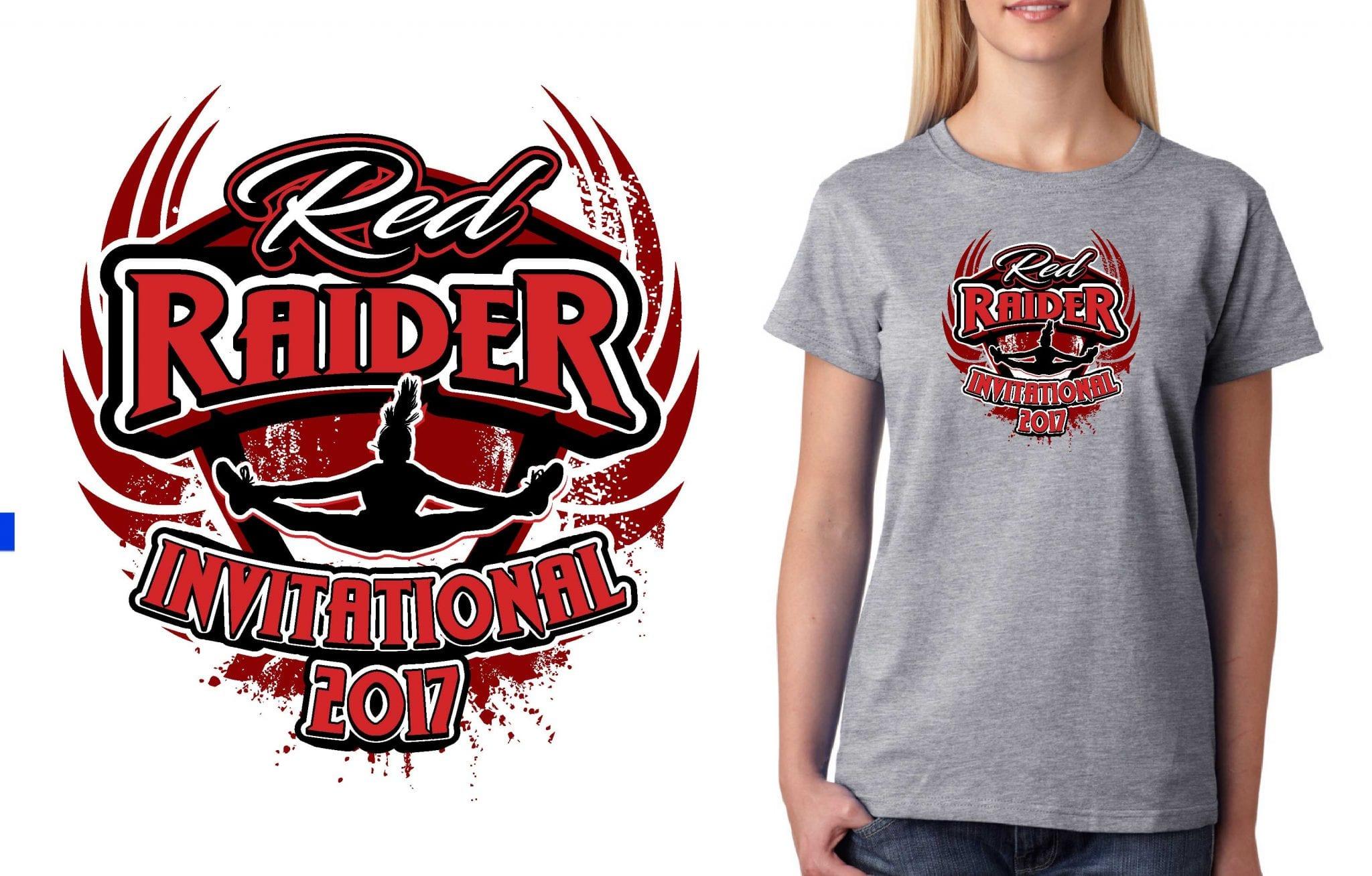 2017 Red Raider Invitational vector logo design for cheer t-shirt UrArtStudio