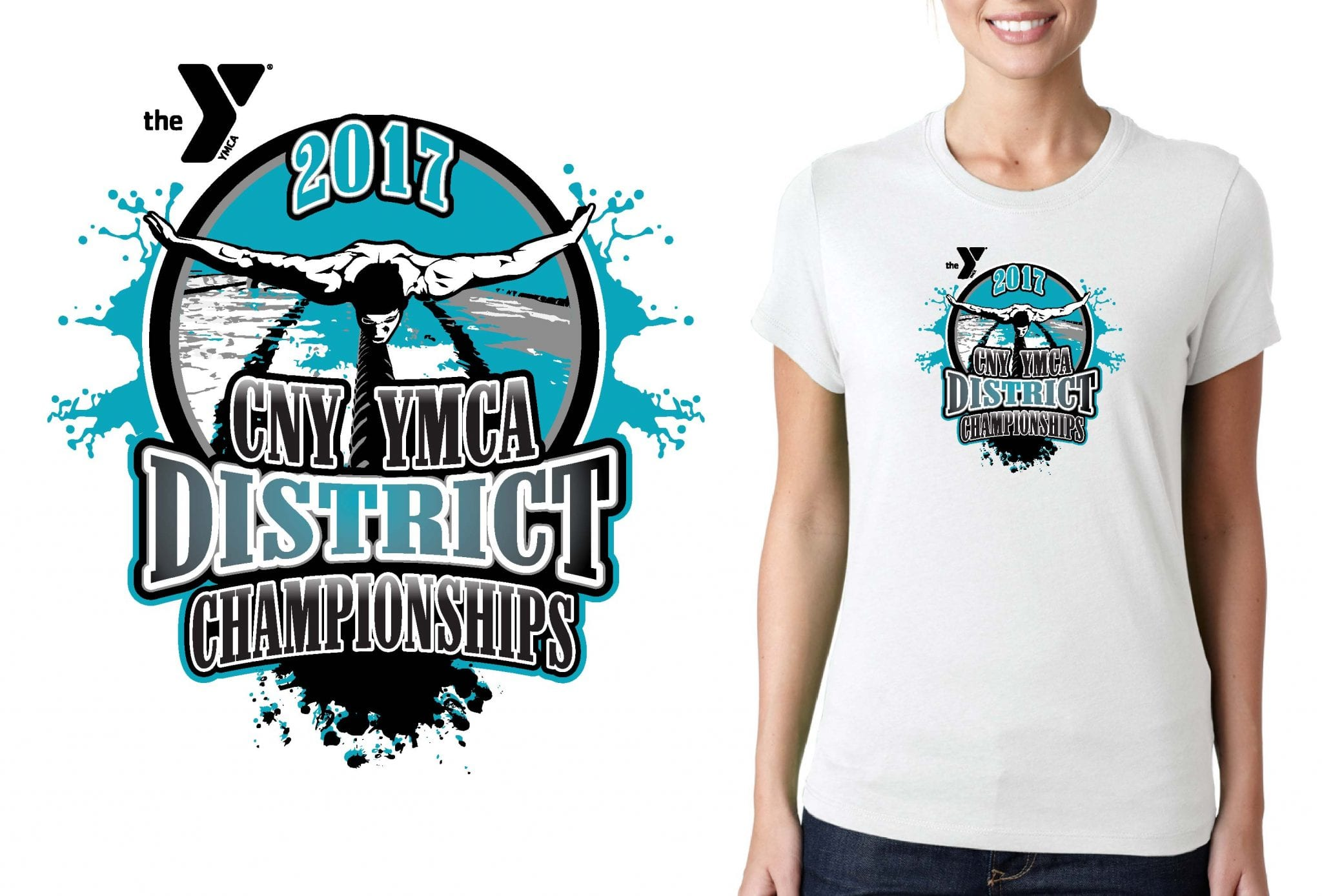 SWIMMING LOGO for CNY District Championship T-SHIRT UrArtStudio