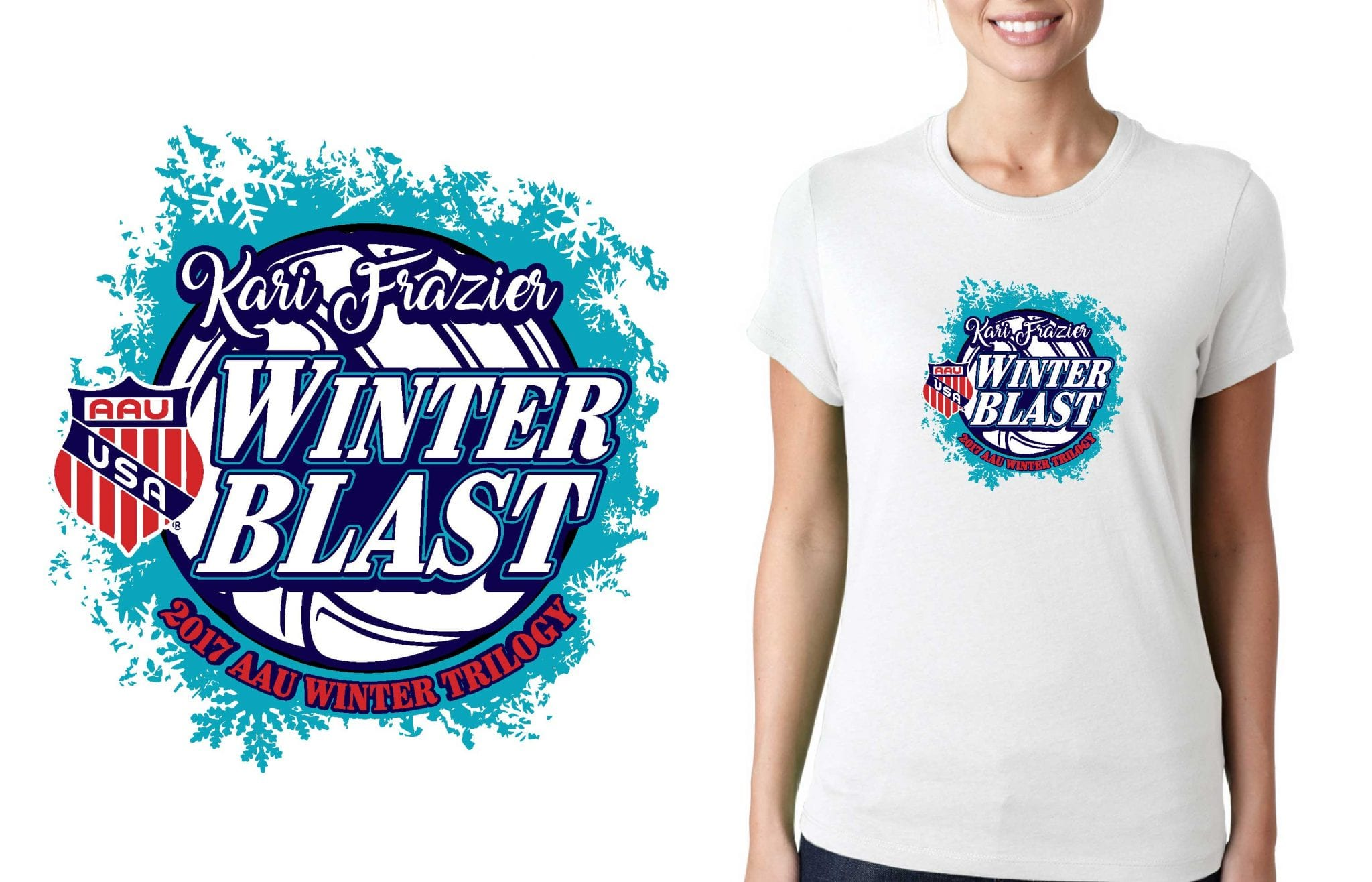 VOLLEYBALL LOGO for Kari Frazier Classic Volleyball Tournament for T-SHIRT UrArtStudio